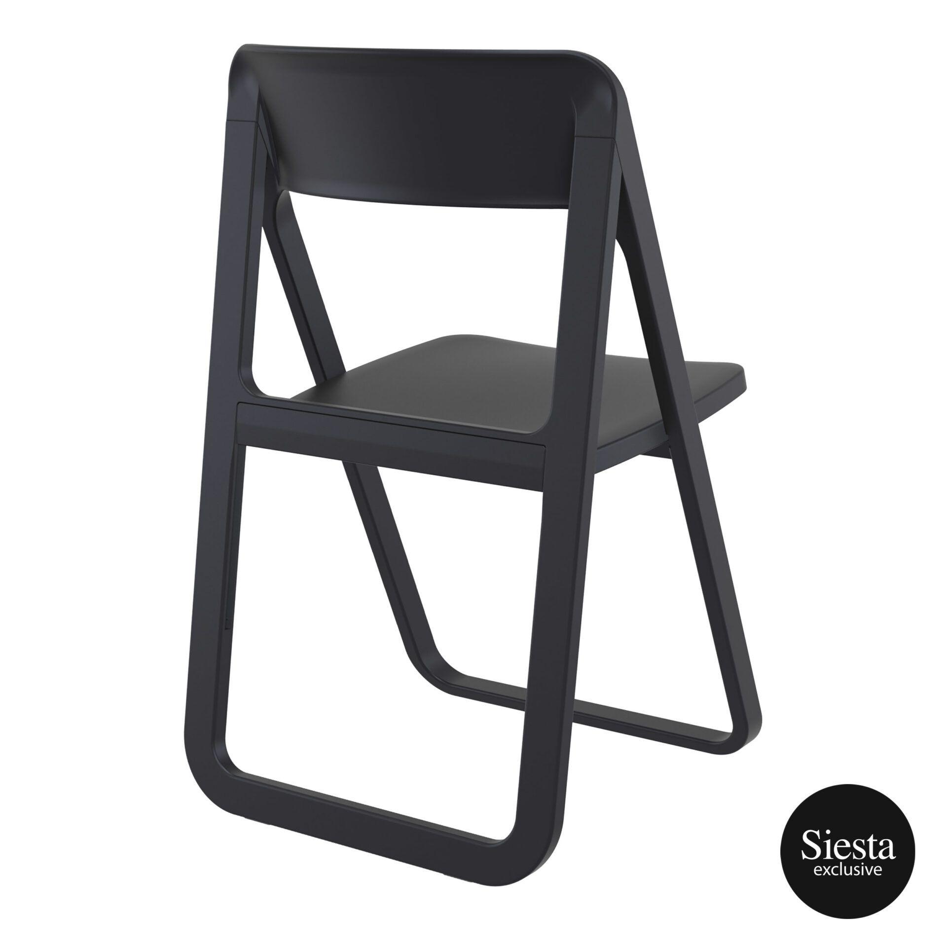 polypropylene dream folding chair black back side 1