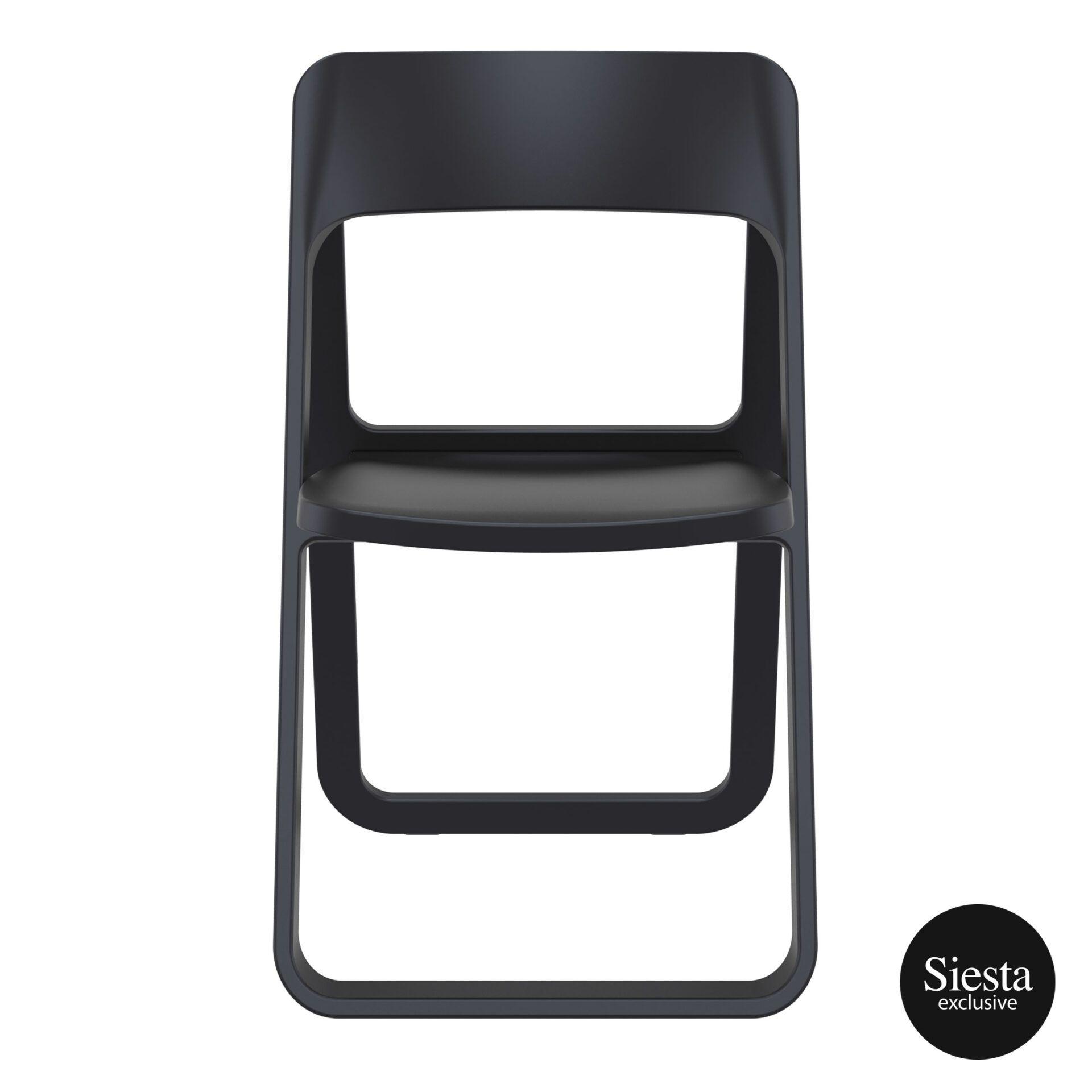 polypropylene dream folding chair black front 1