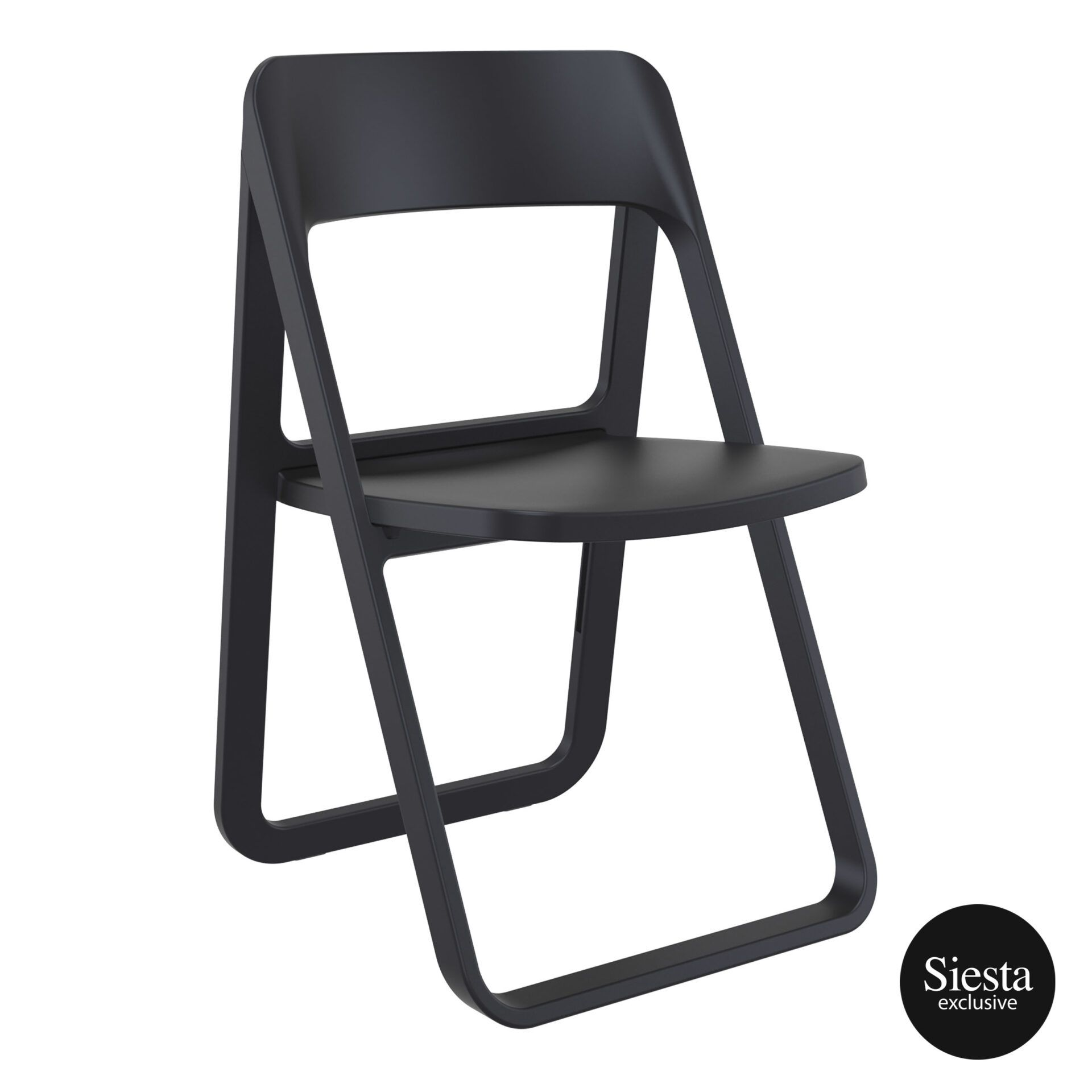 polypropylene dream folding chair black front side 1