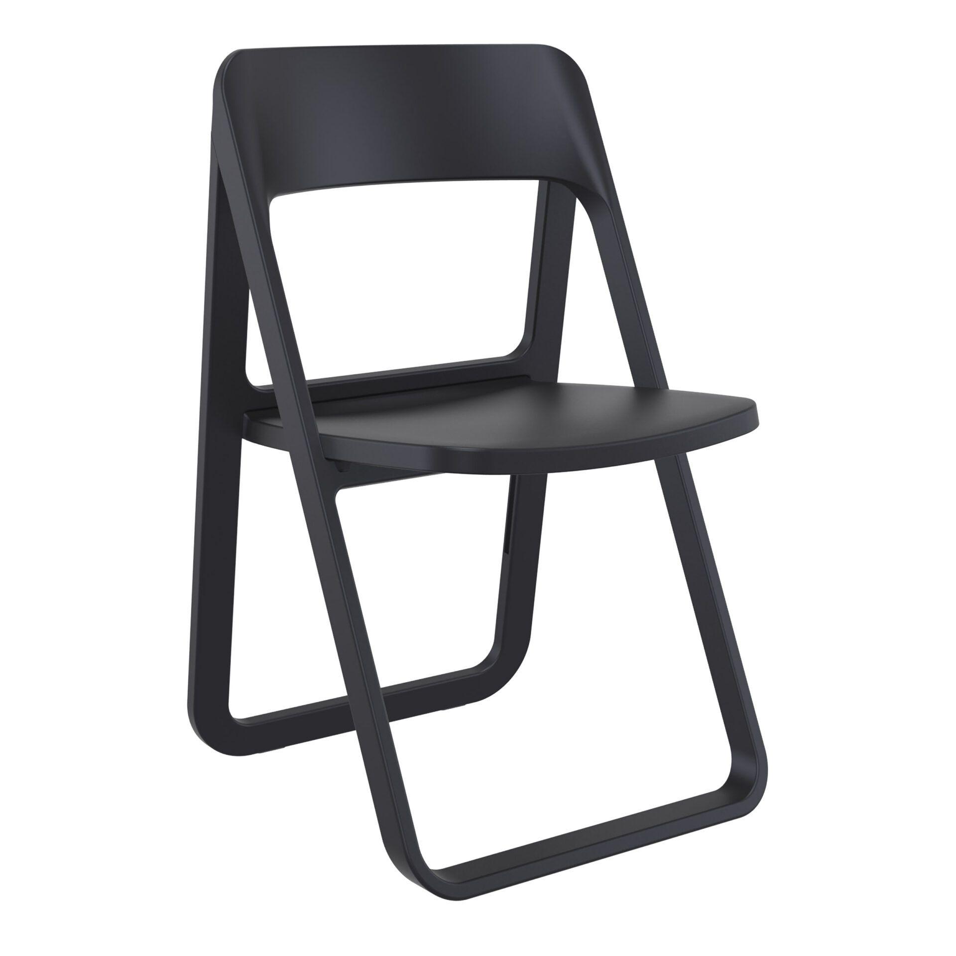 polypropylene dream folding chair black front side
