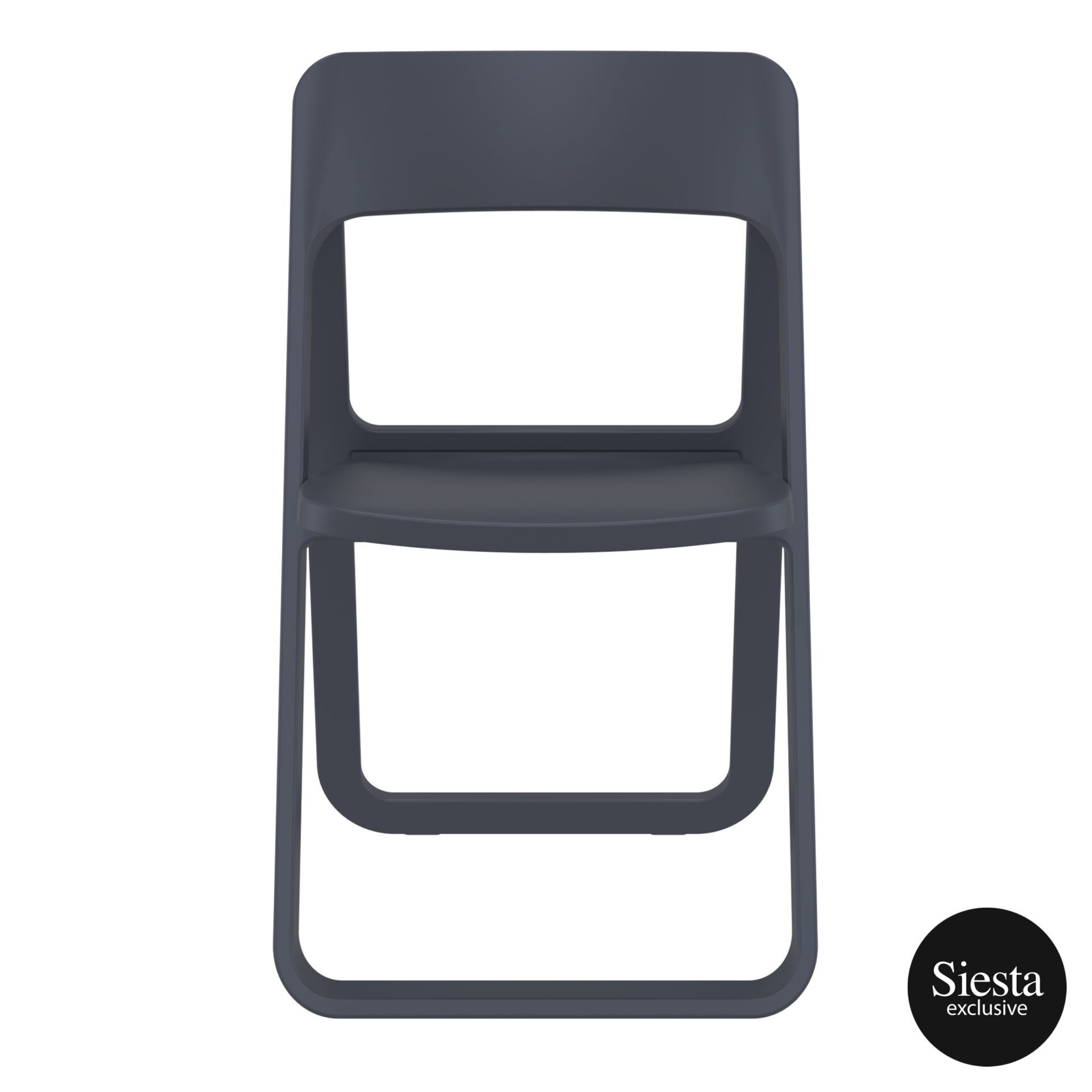 polypropylene dream folding chair darkgrey front 2