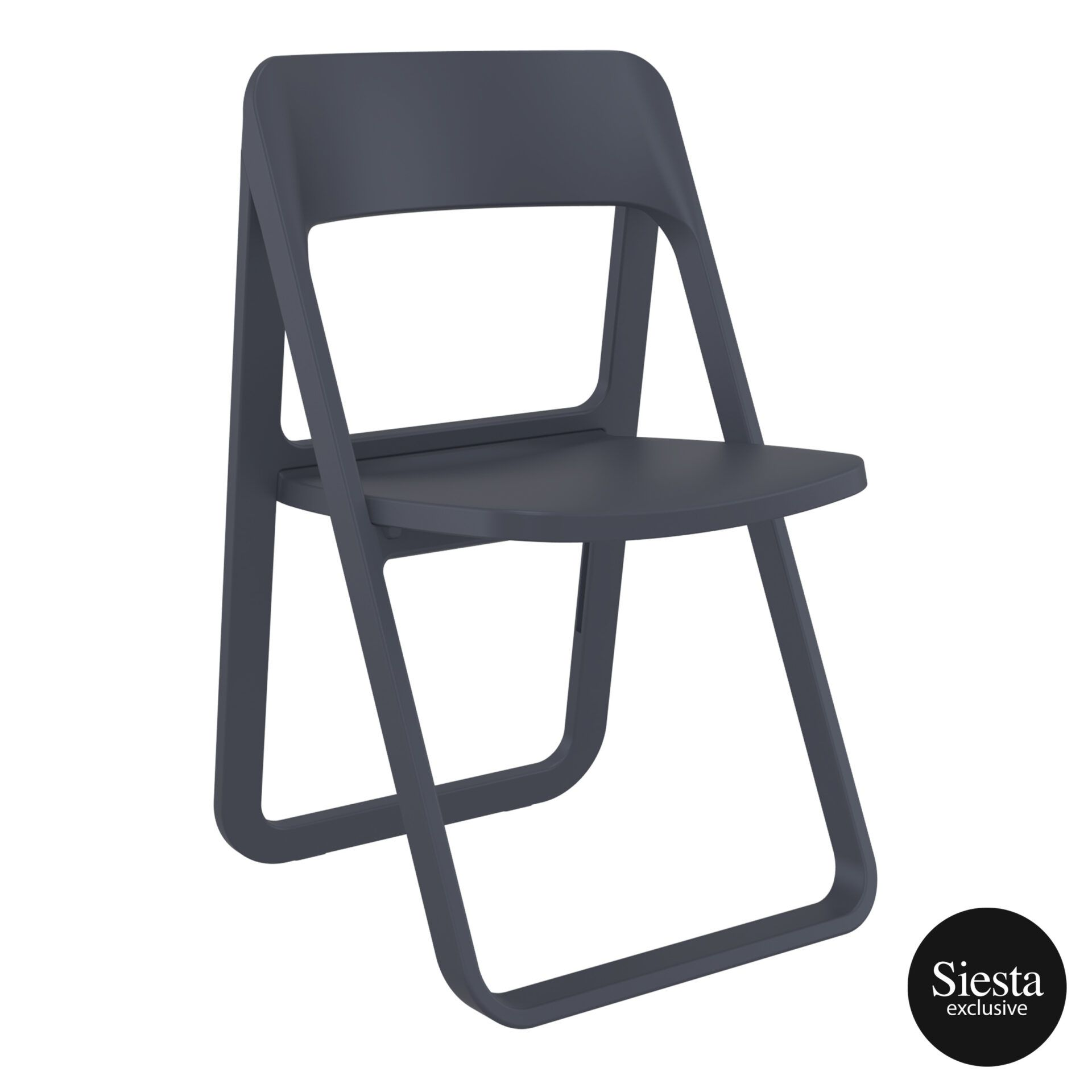 polypropylene dream folding chair darkgrey front side 2