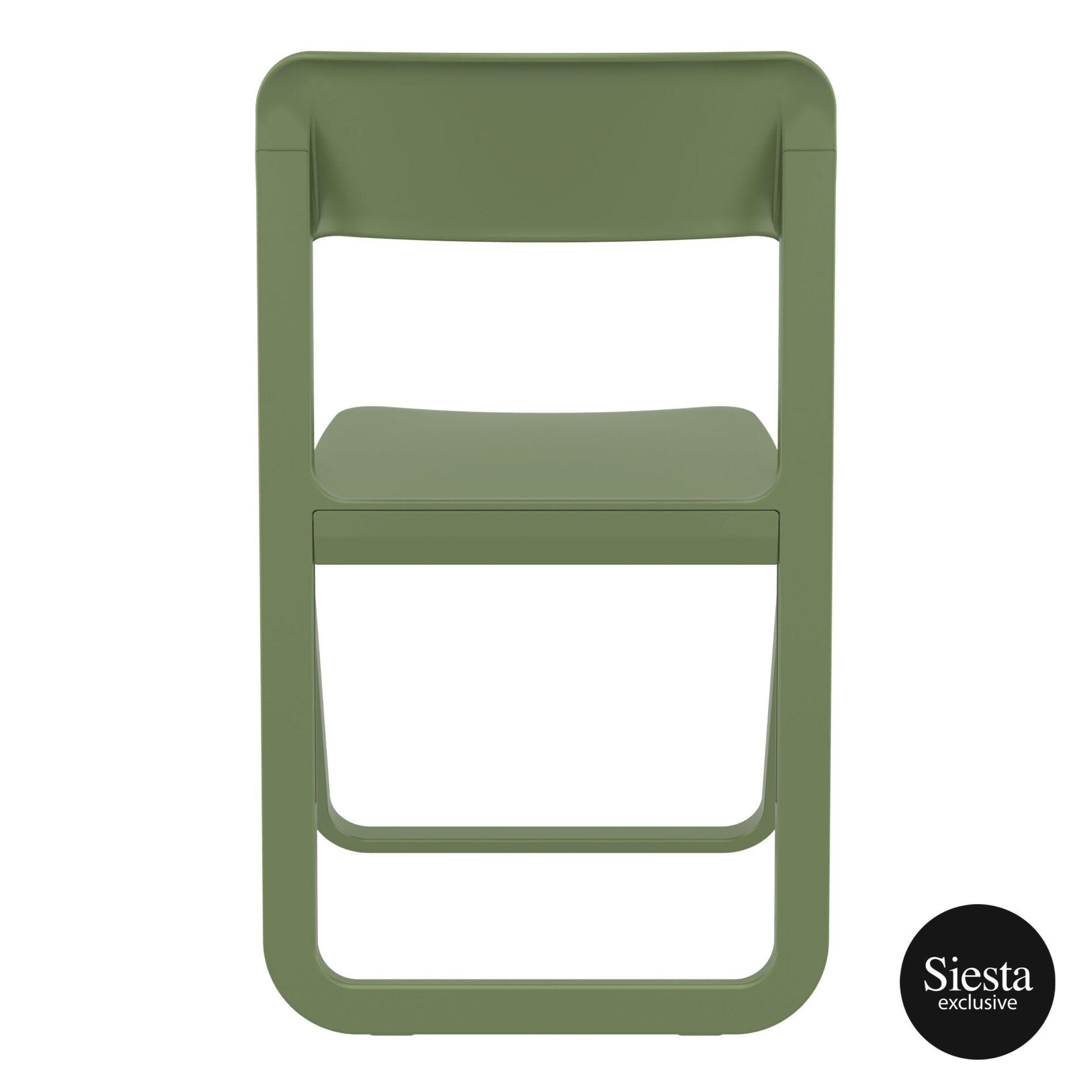 polypropylene dream folding chair olive green back 1