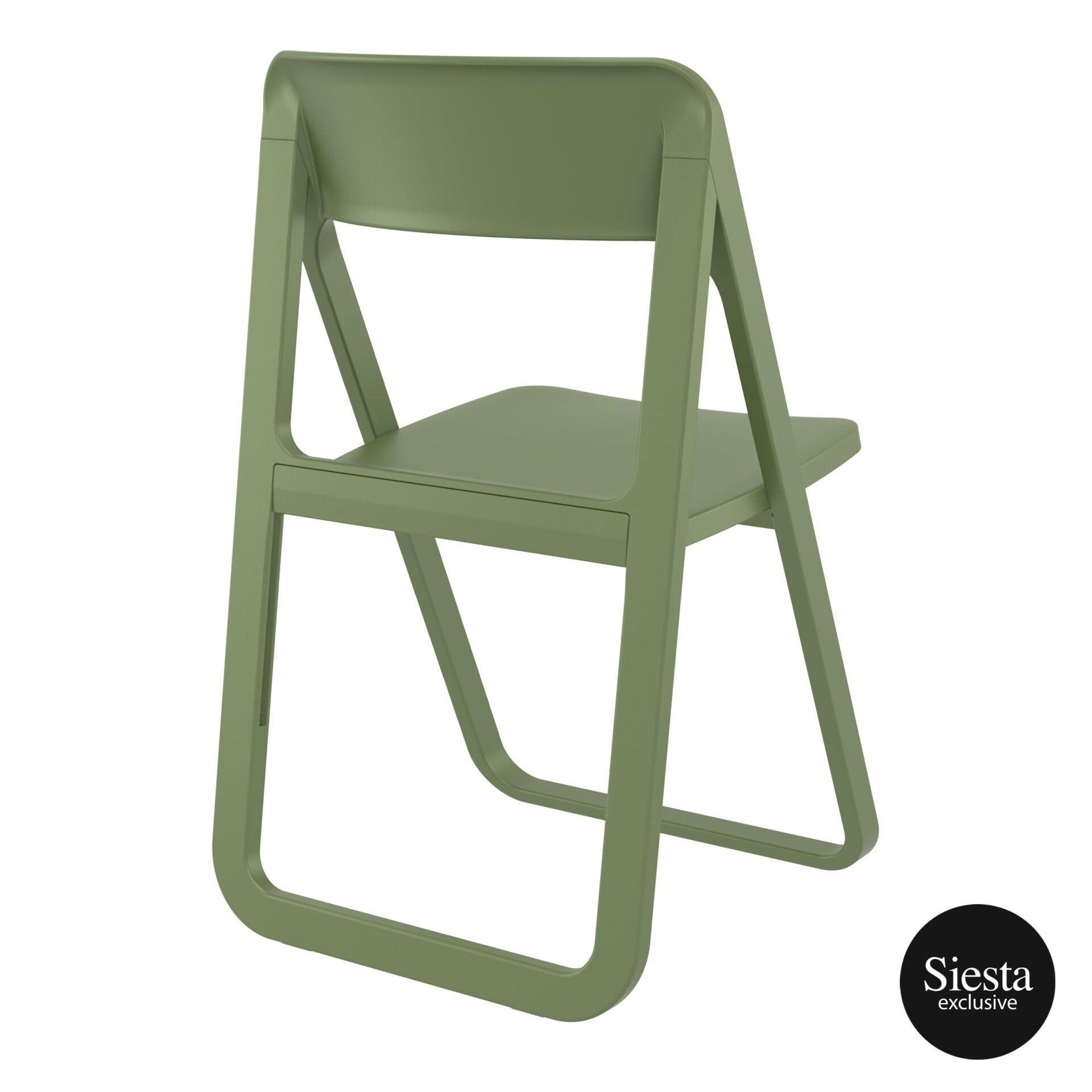 polypropylene dream folding chair olive green back side 1
