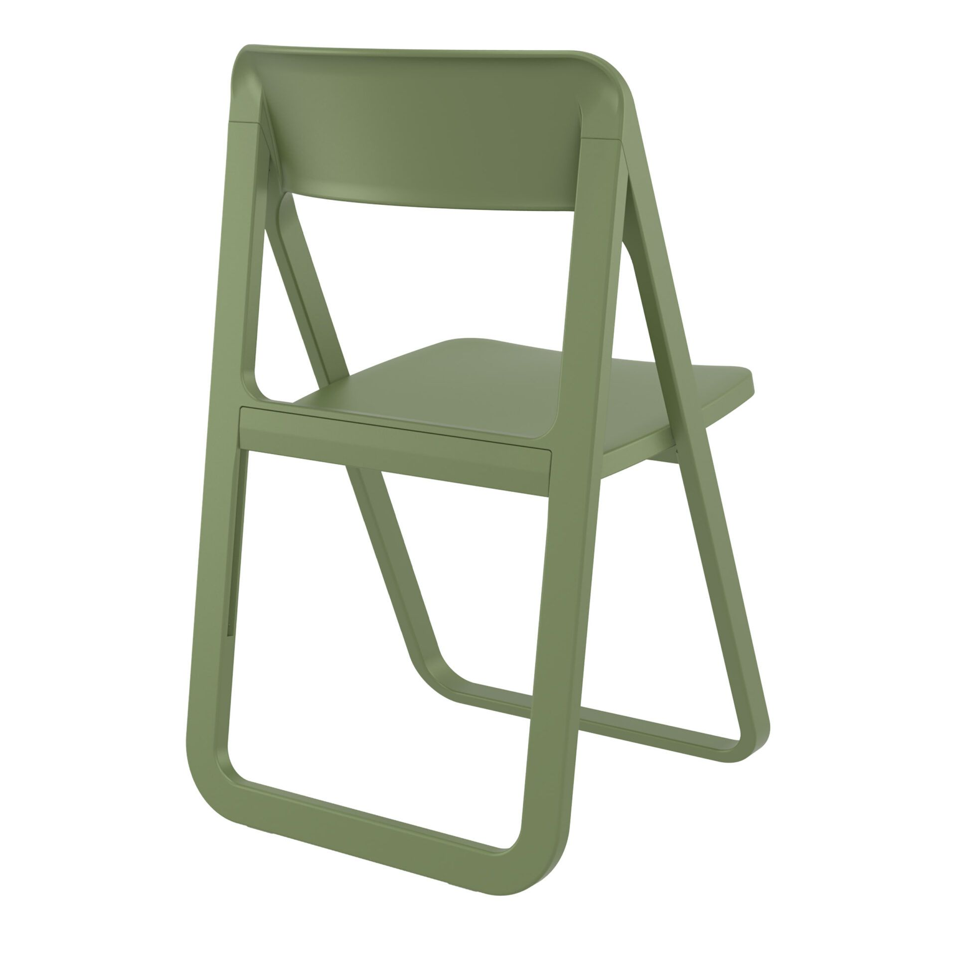polypropylene dream folding chair olive green back side