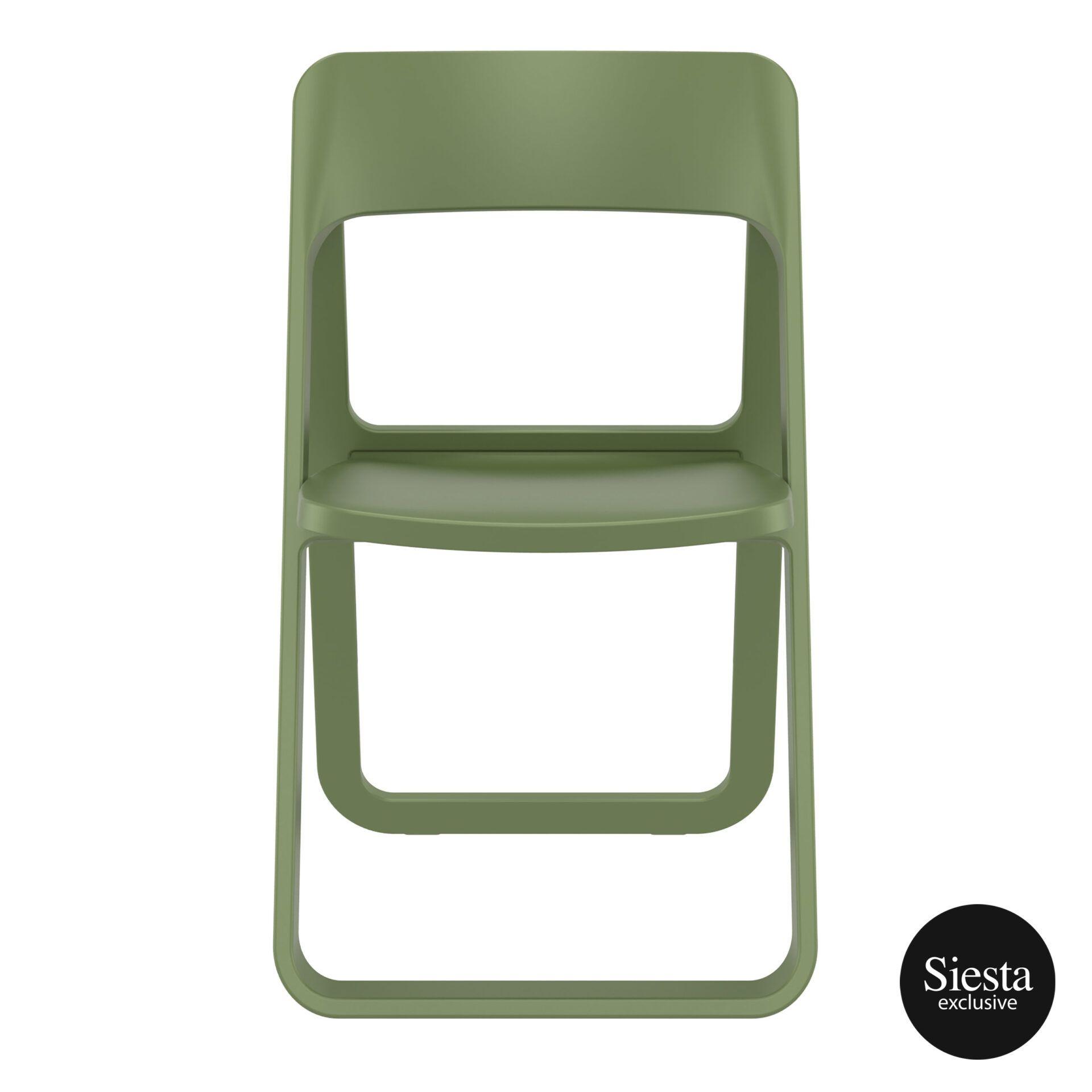 polypropylene dream folding chair olive green front 1
