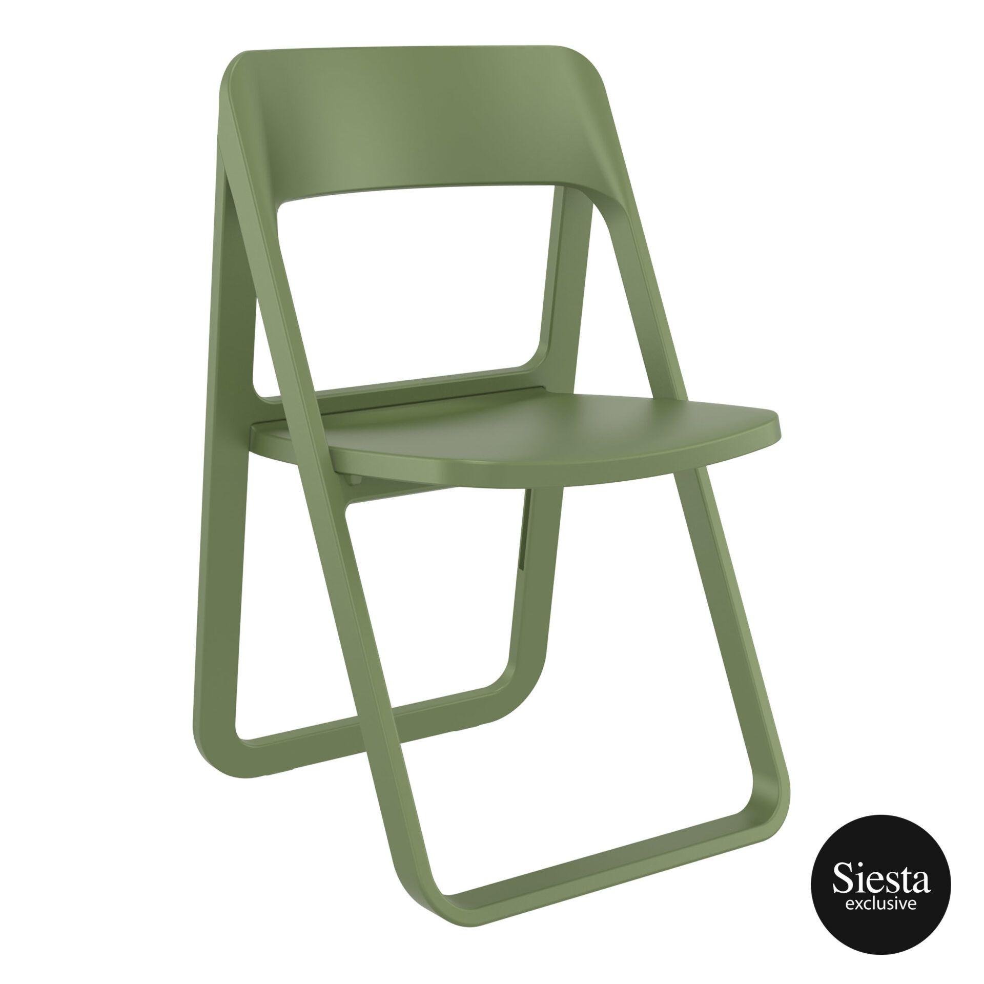 polypropylene dream folding chair olive green front side 1