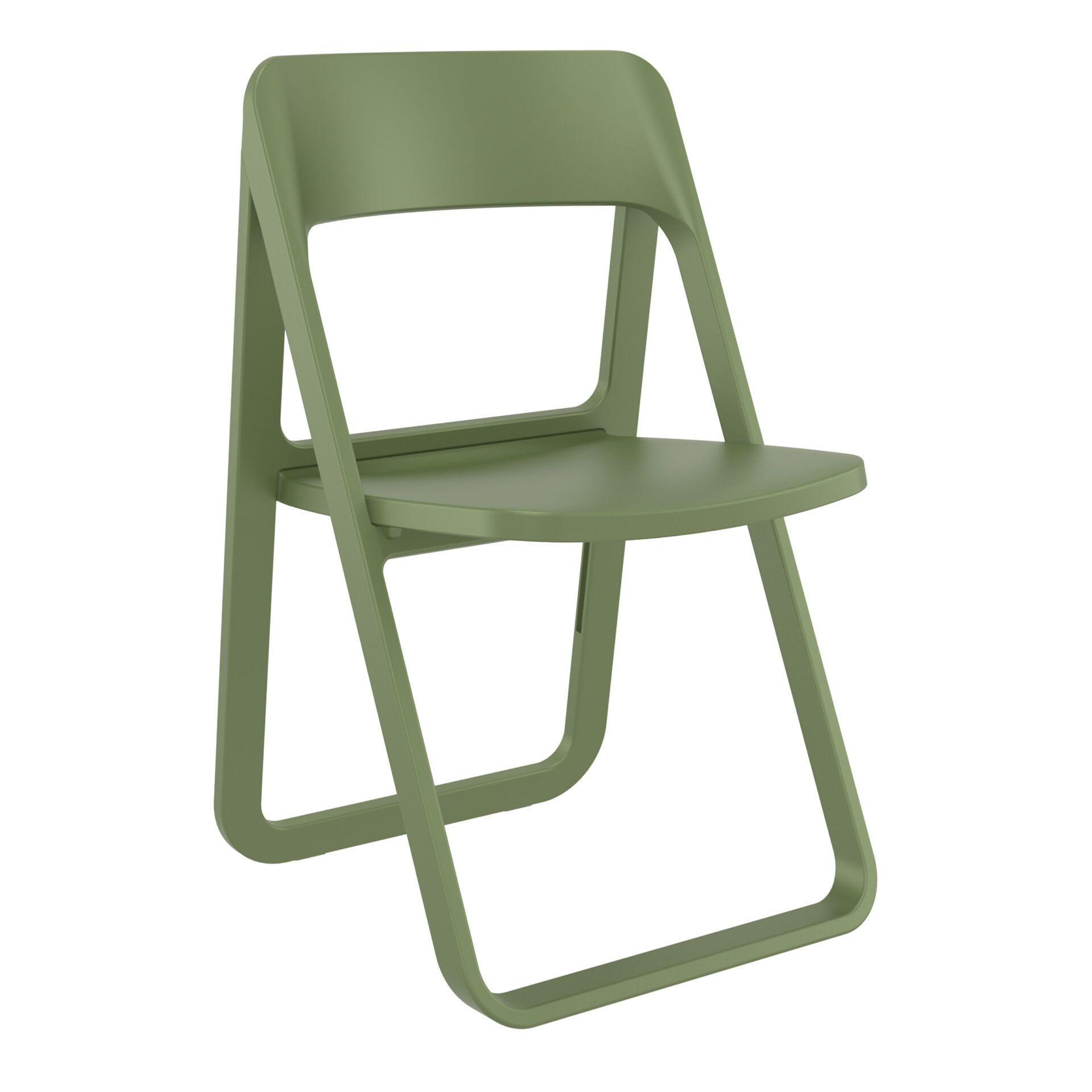 polypropylene dream folding chair olive green front side