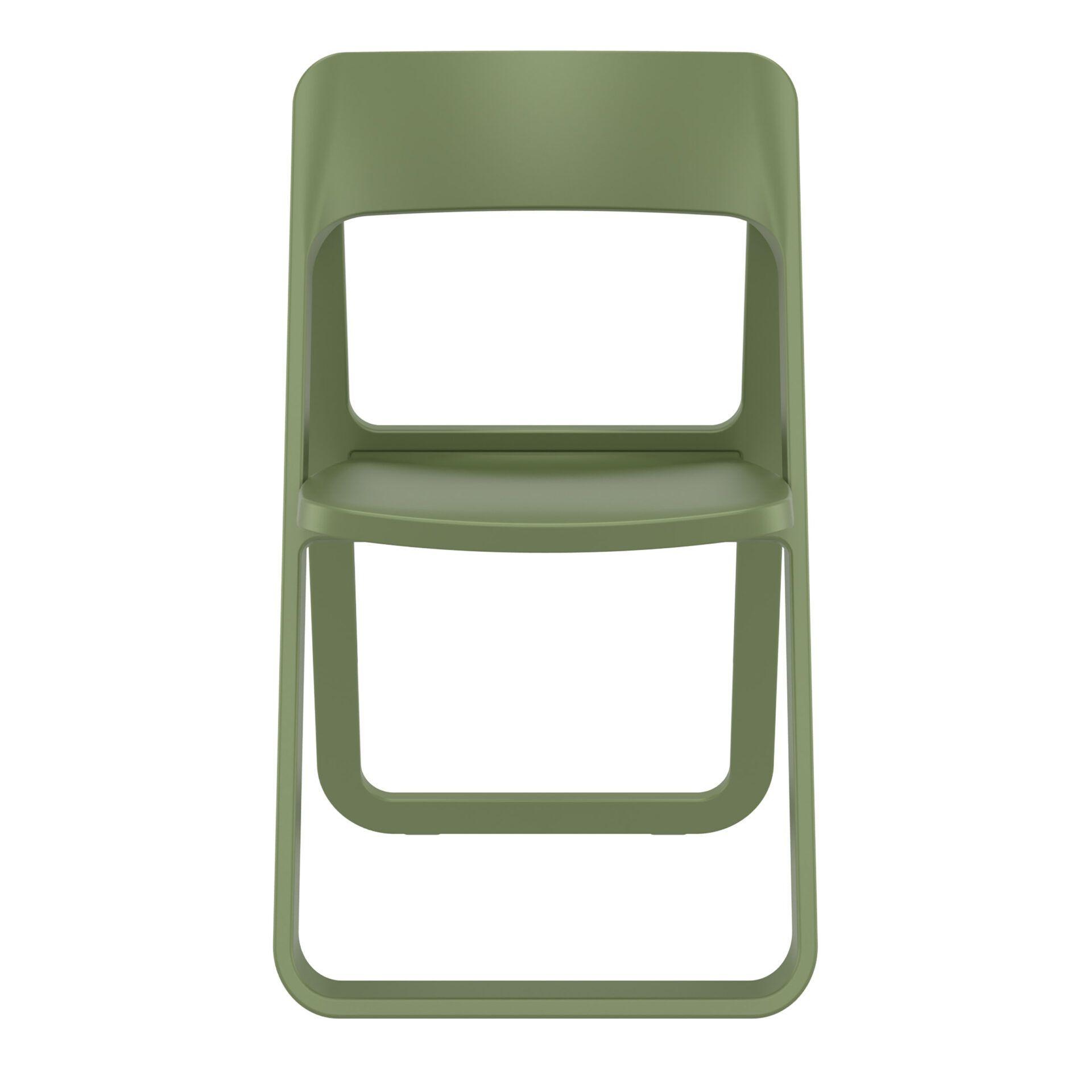 polypropylene dream folding chair olive green front