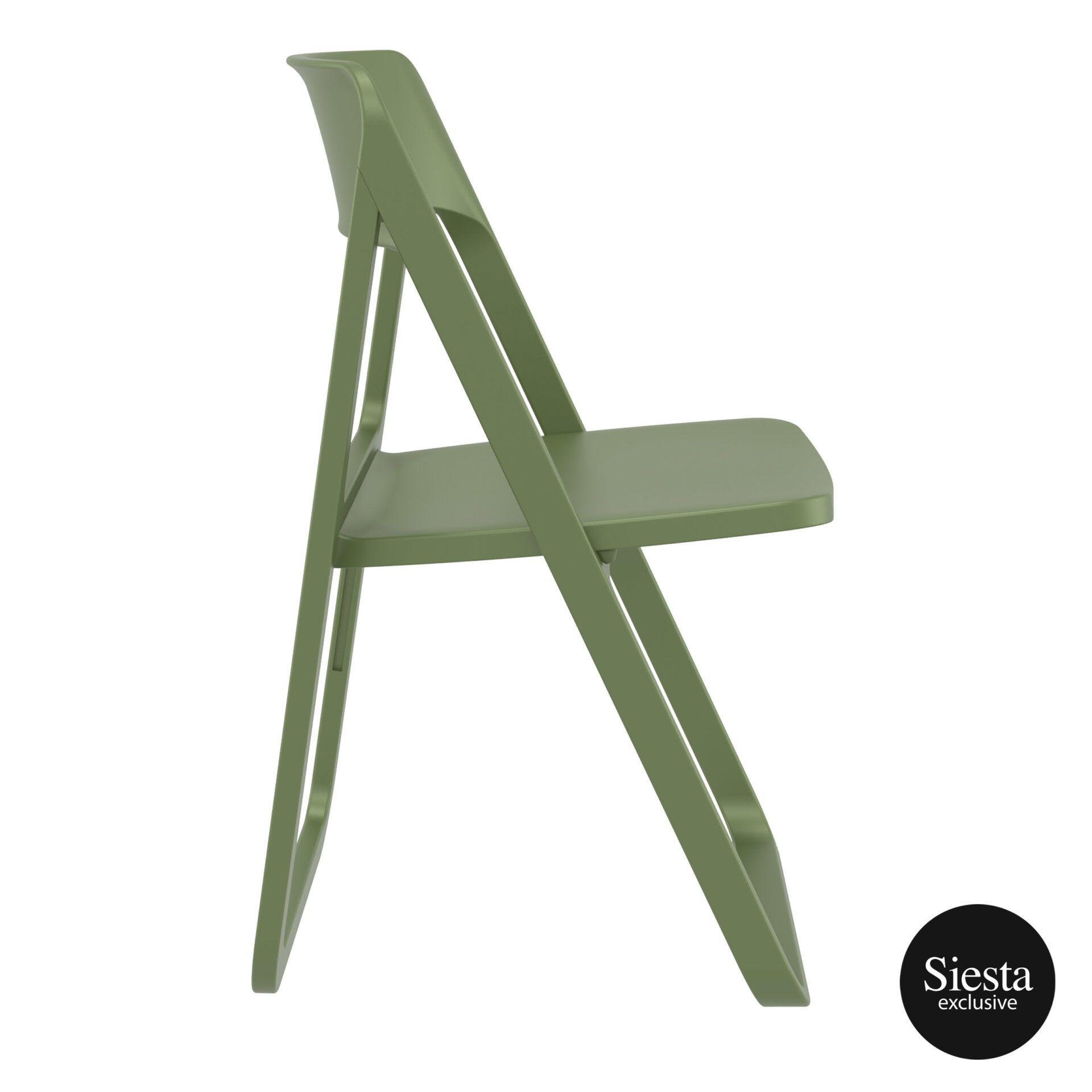 polypropylene dream folding chair olive green side 1