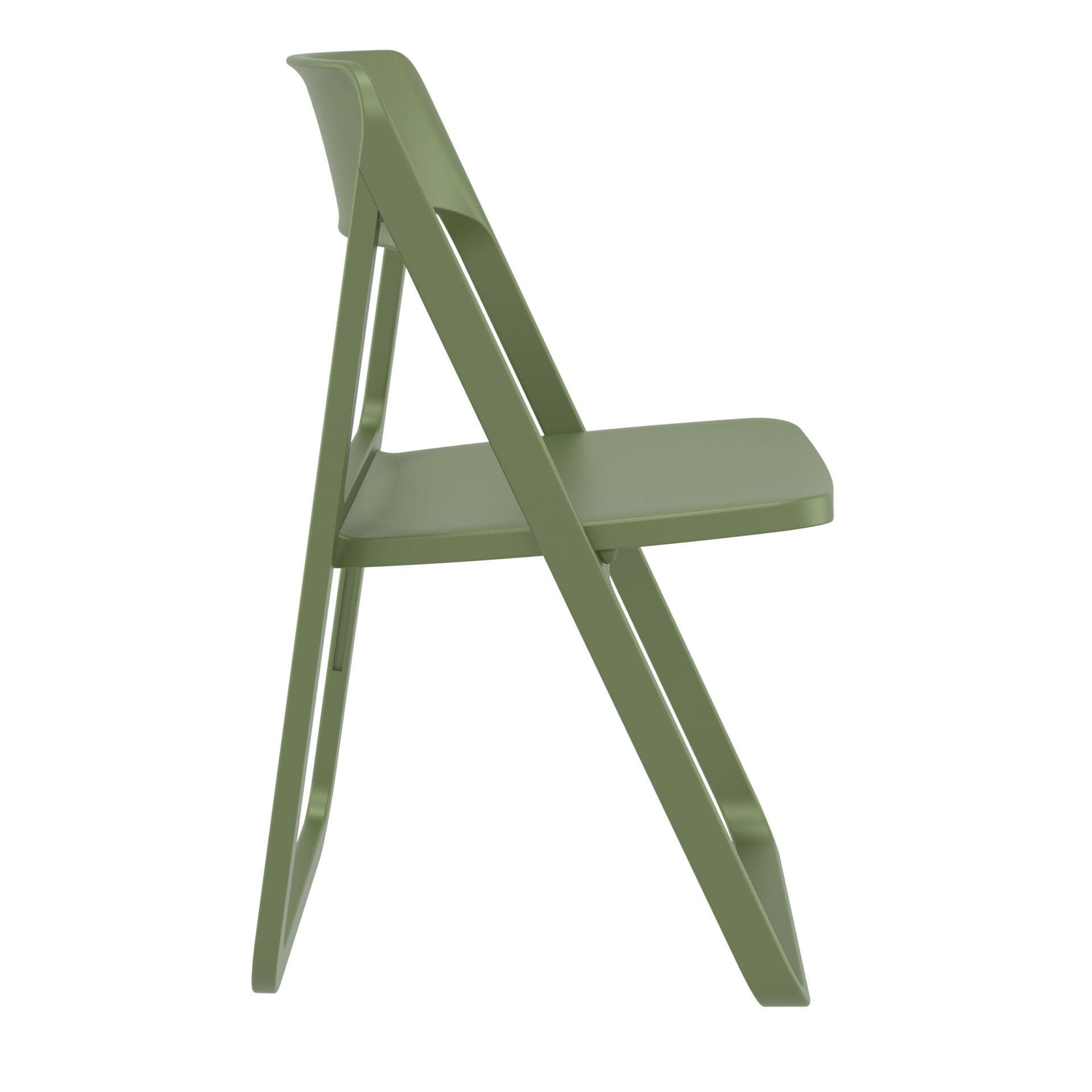 polypropylene dream folding chair olive green side