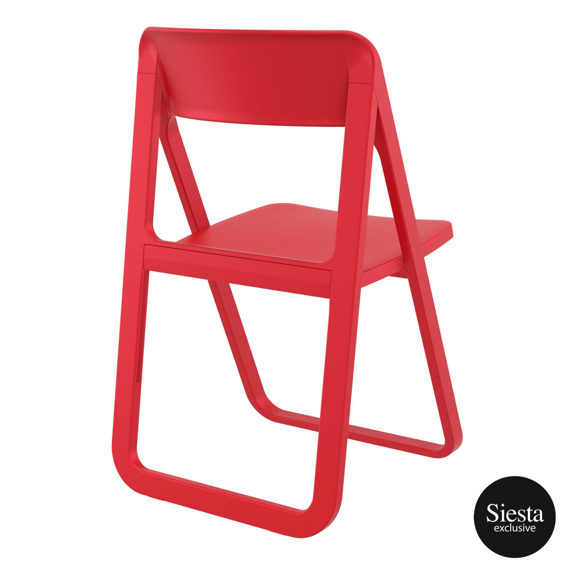 polypropylene dream folding chair red back side 1