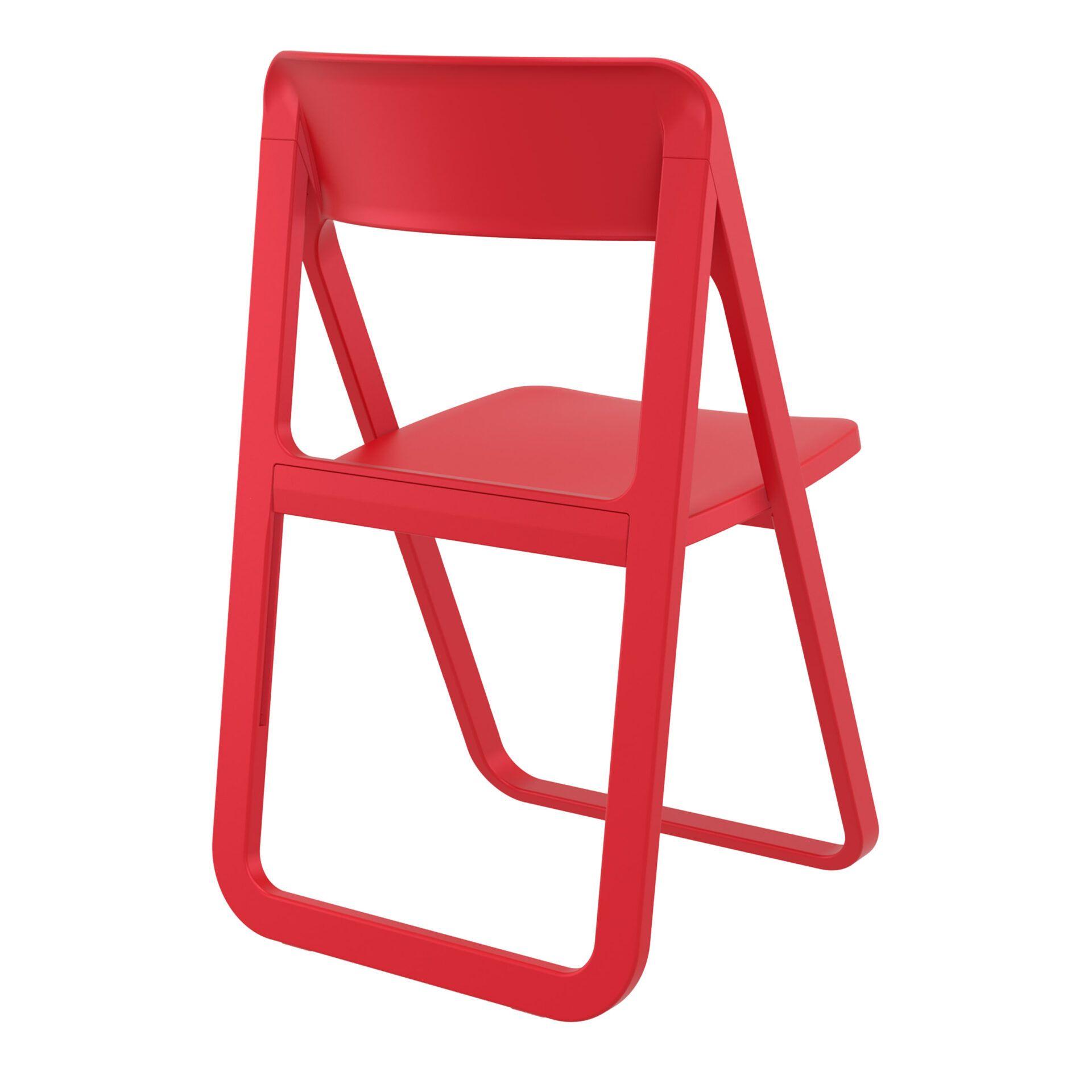 polypropylene dream folding chair red back side