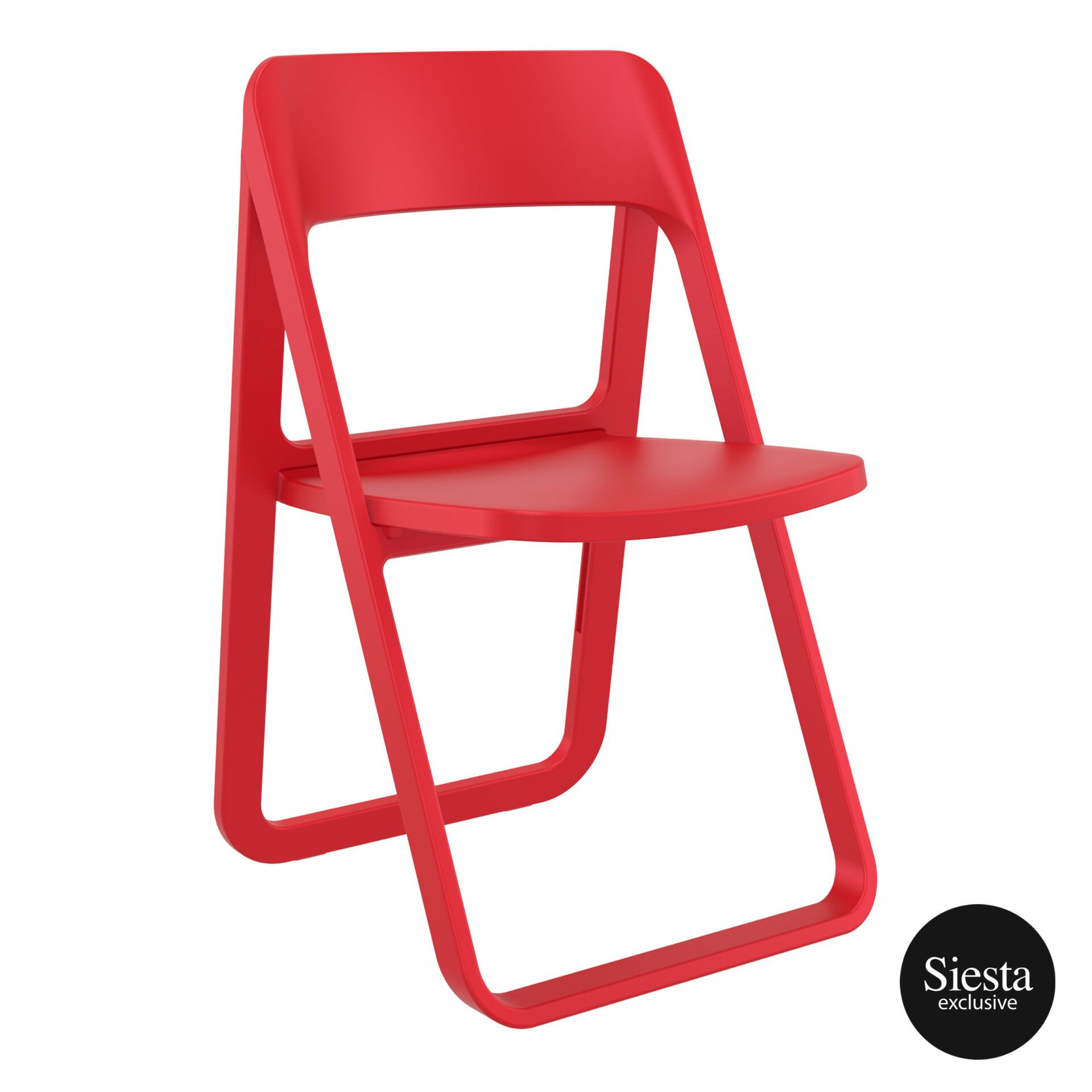 polypropylene dream folding chair red front side 1