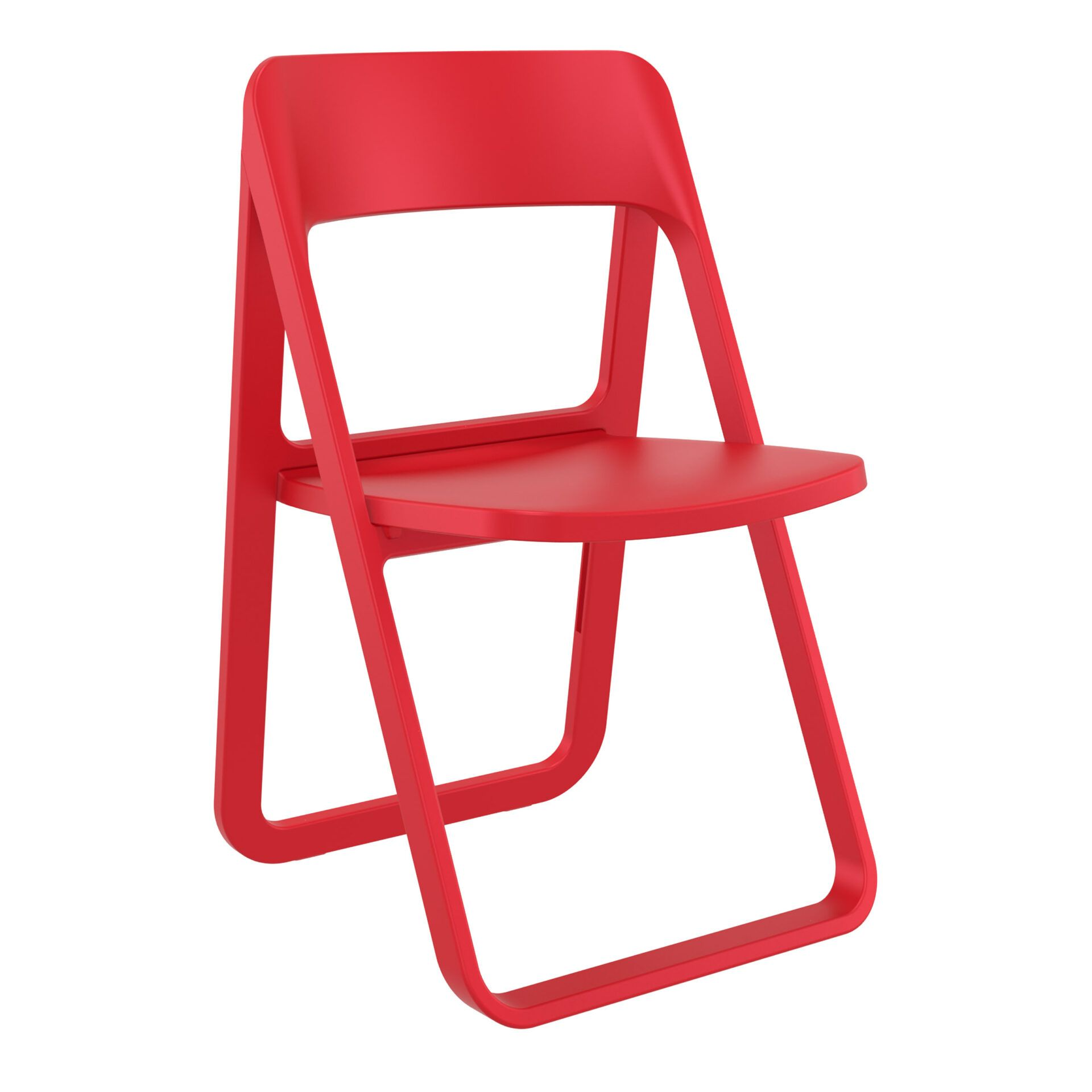 polypropylene dream folding chair red front side