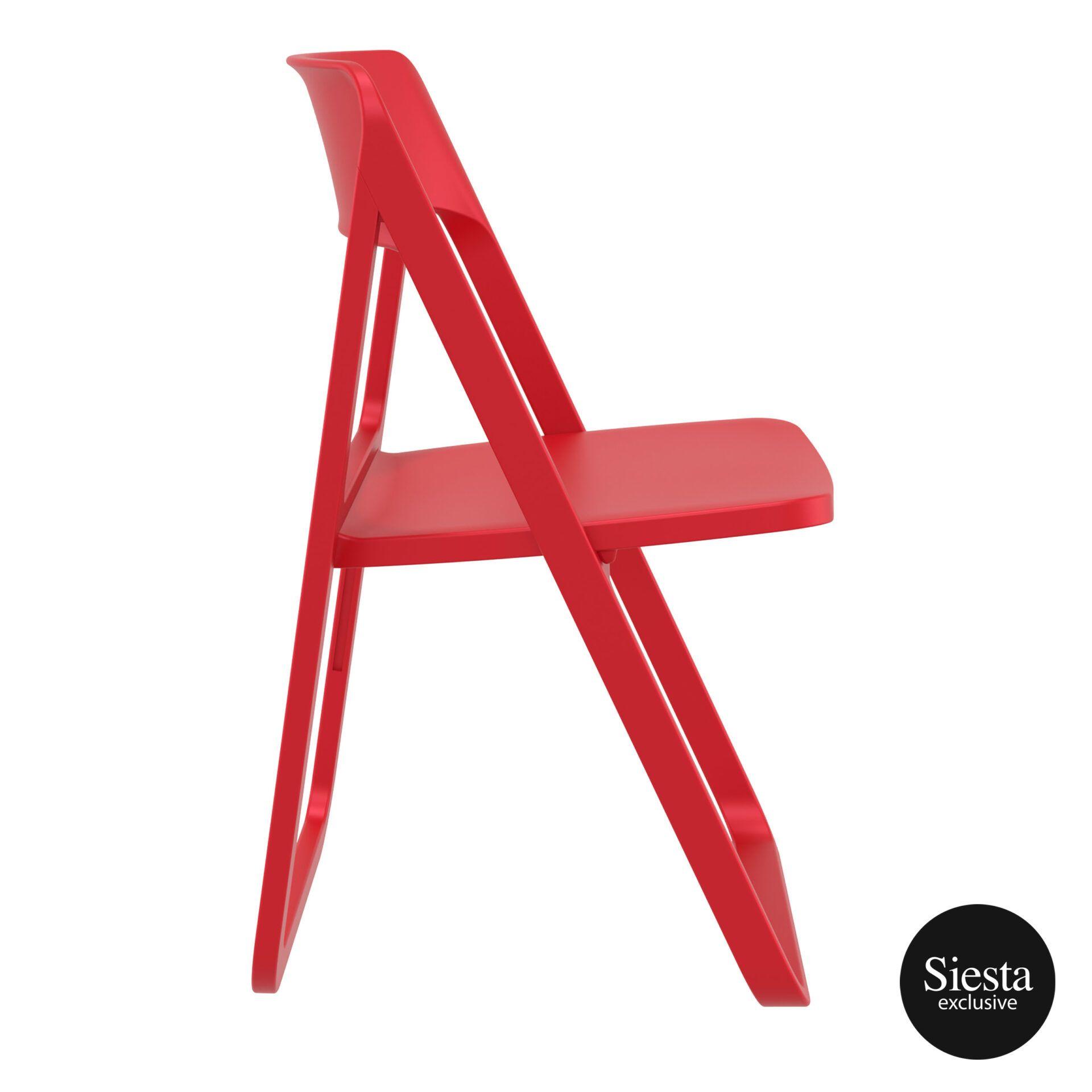 polypropylene dream folding chair red side 1