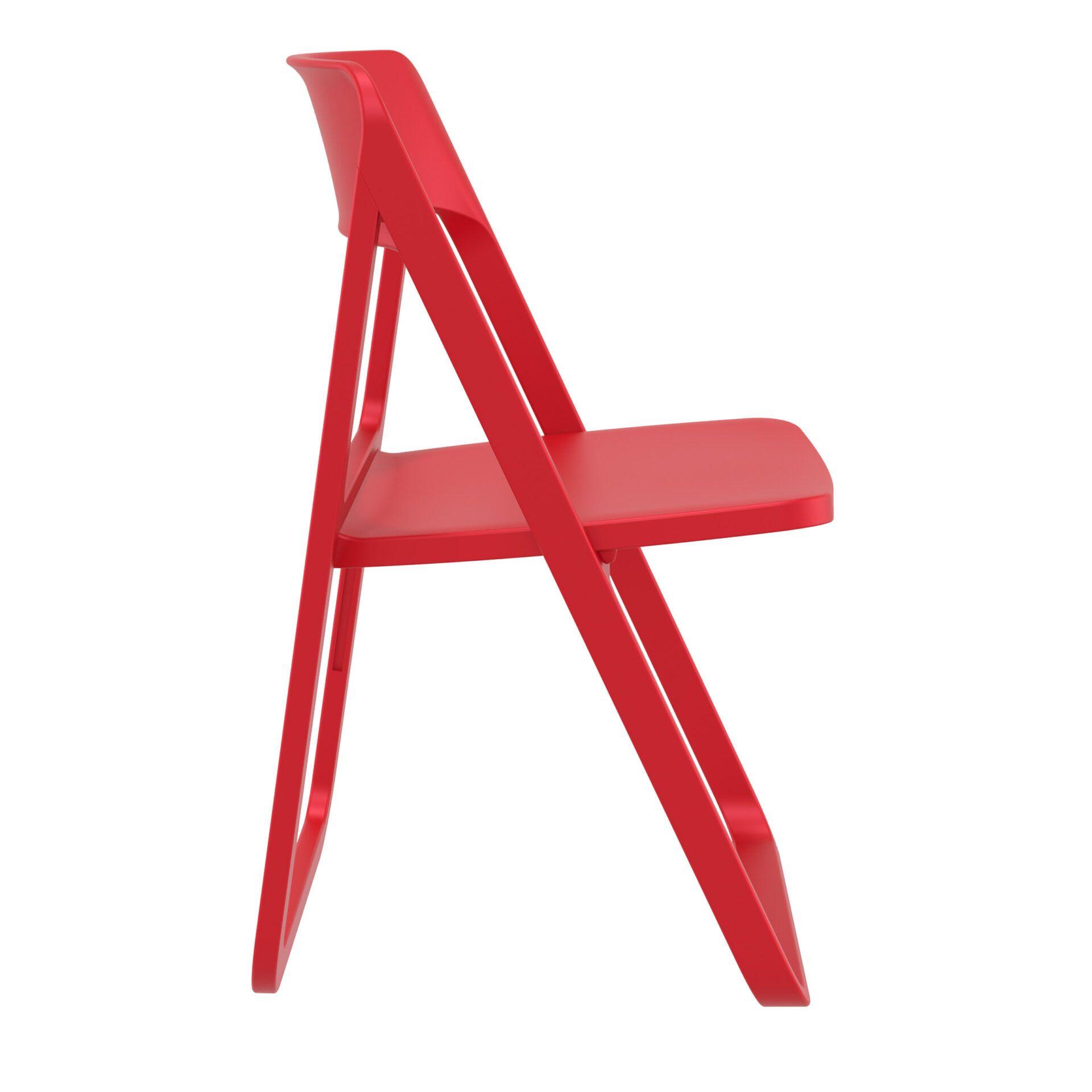 polypropylene dream folding chair red side