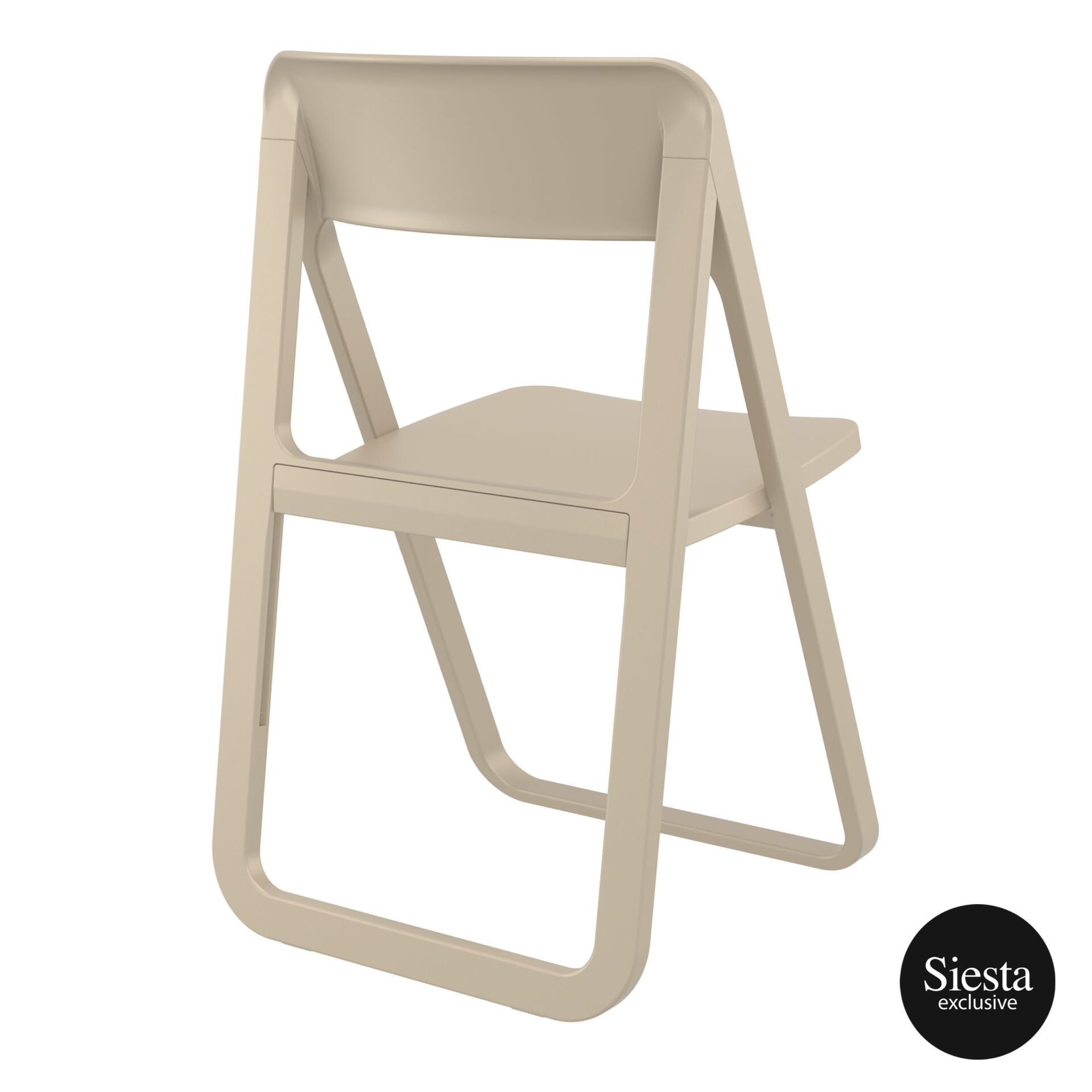 polypropylene dream folding chair taupe back side 1