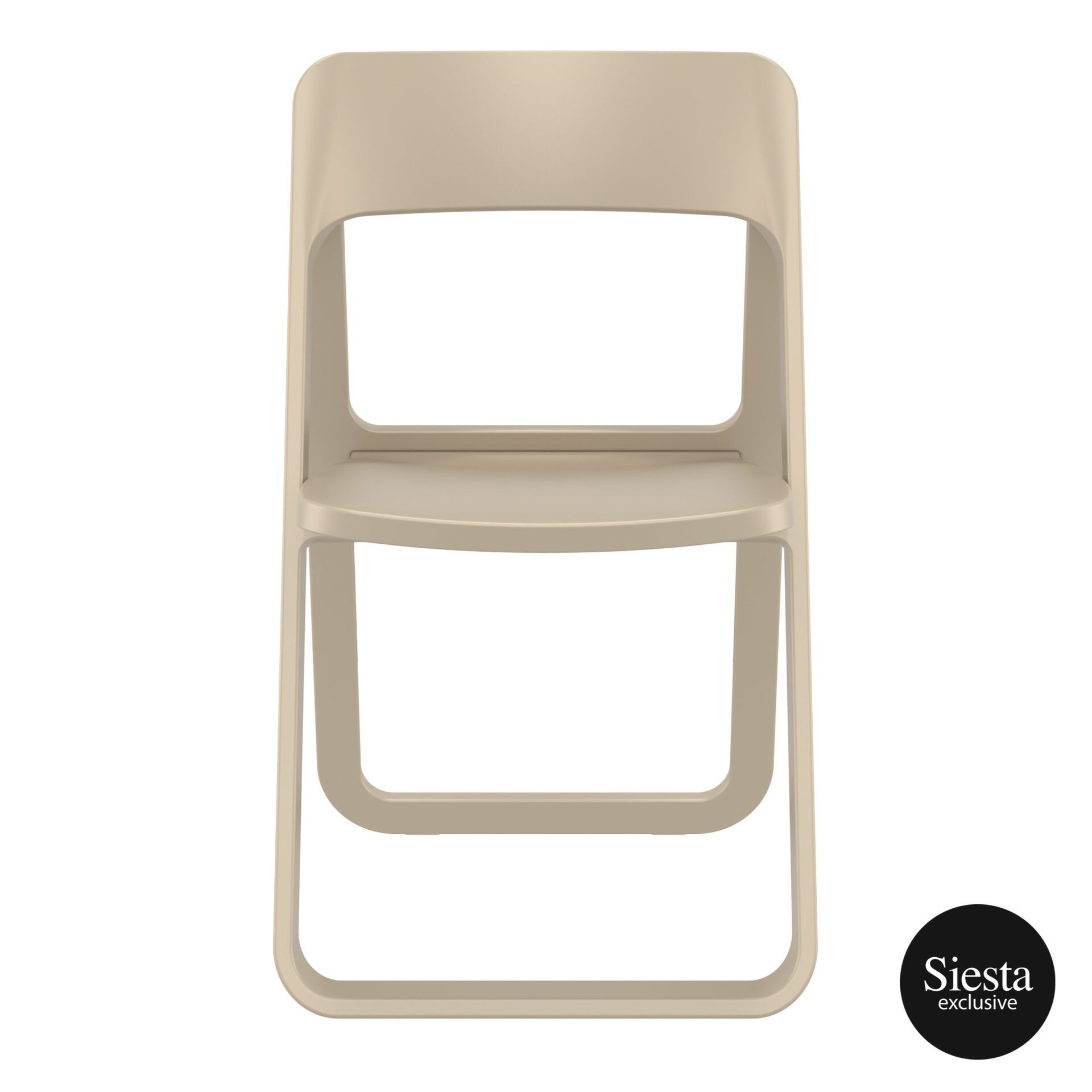 polypropylene dream folding chair taupe front 1