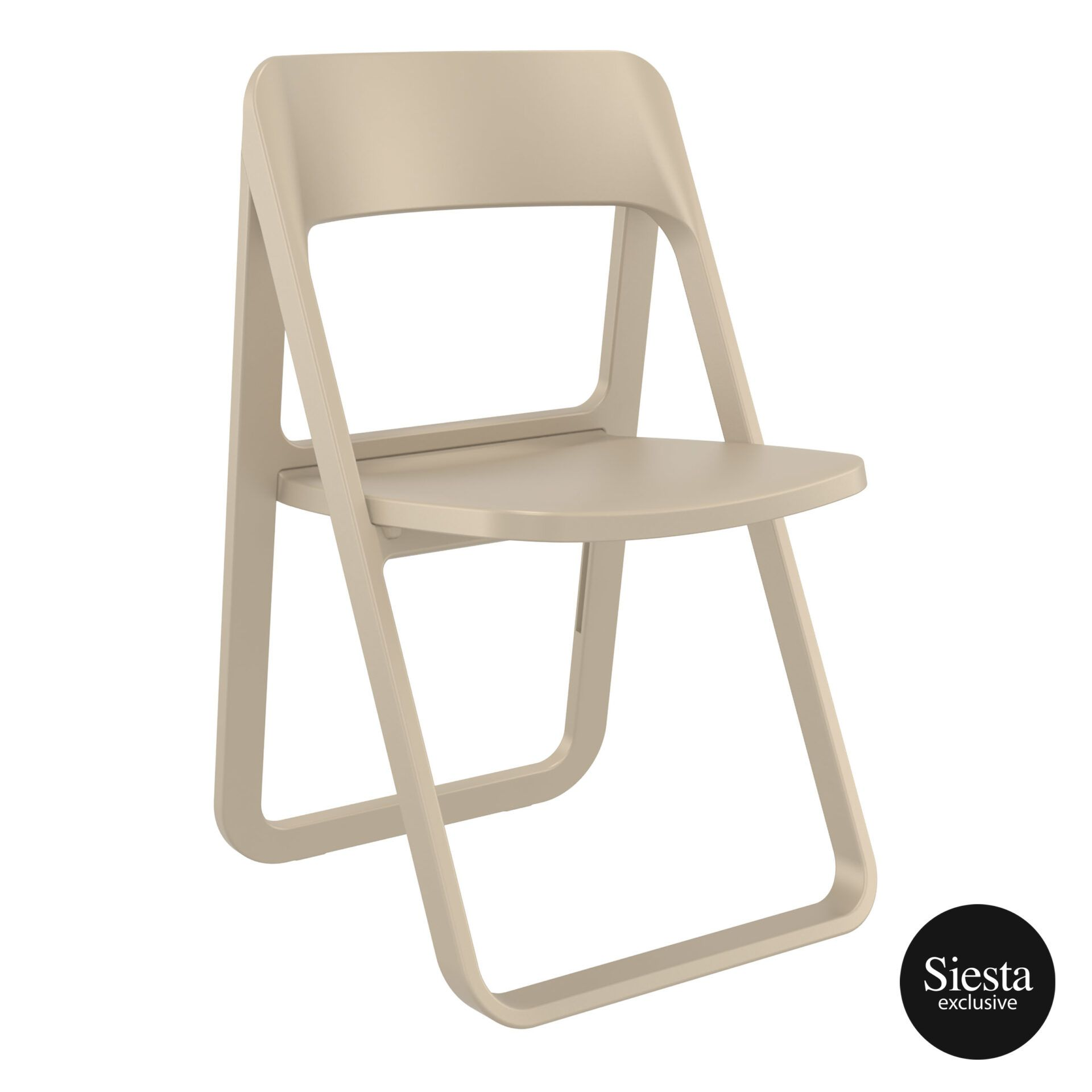 polypropylene dream folding chair taupe front side 1
