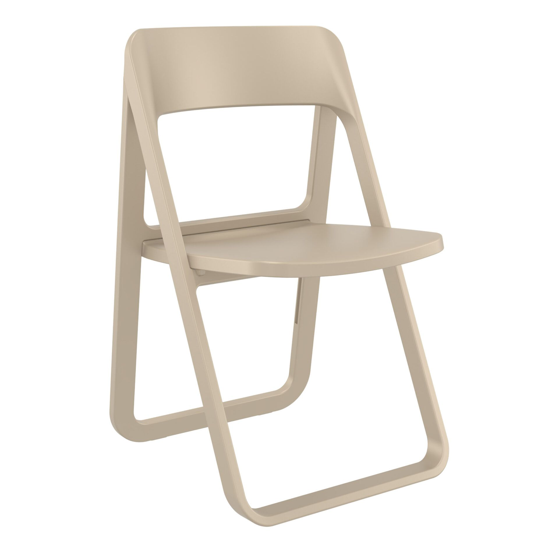 polypropylene dream folding chair taupe front side