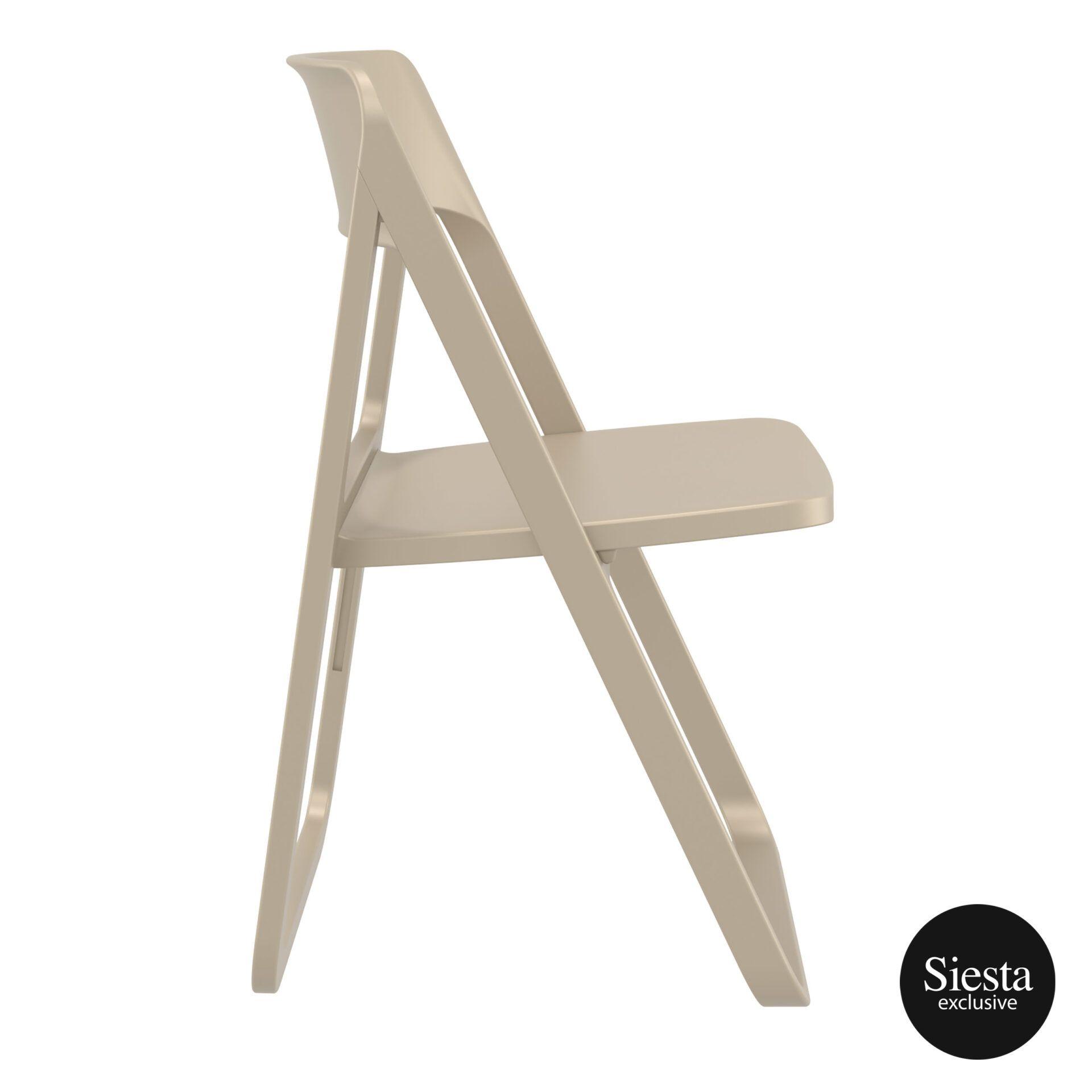 polypropylene dream folding chair taupe side 1