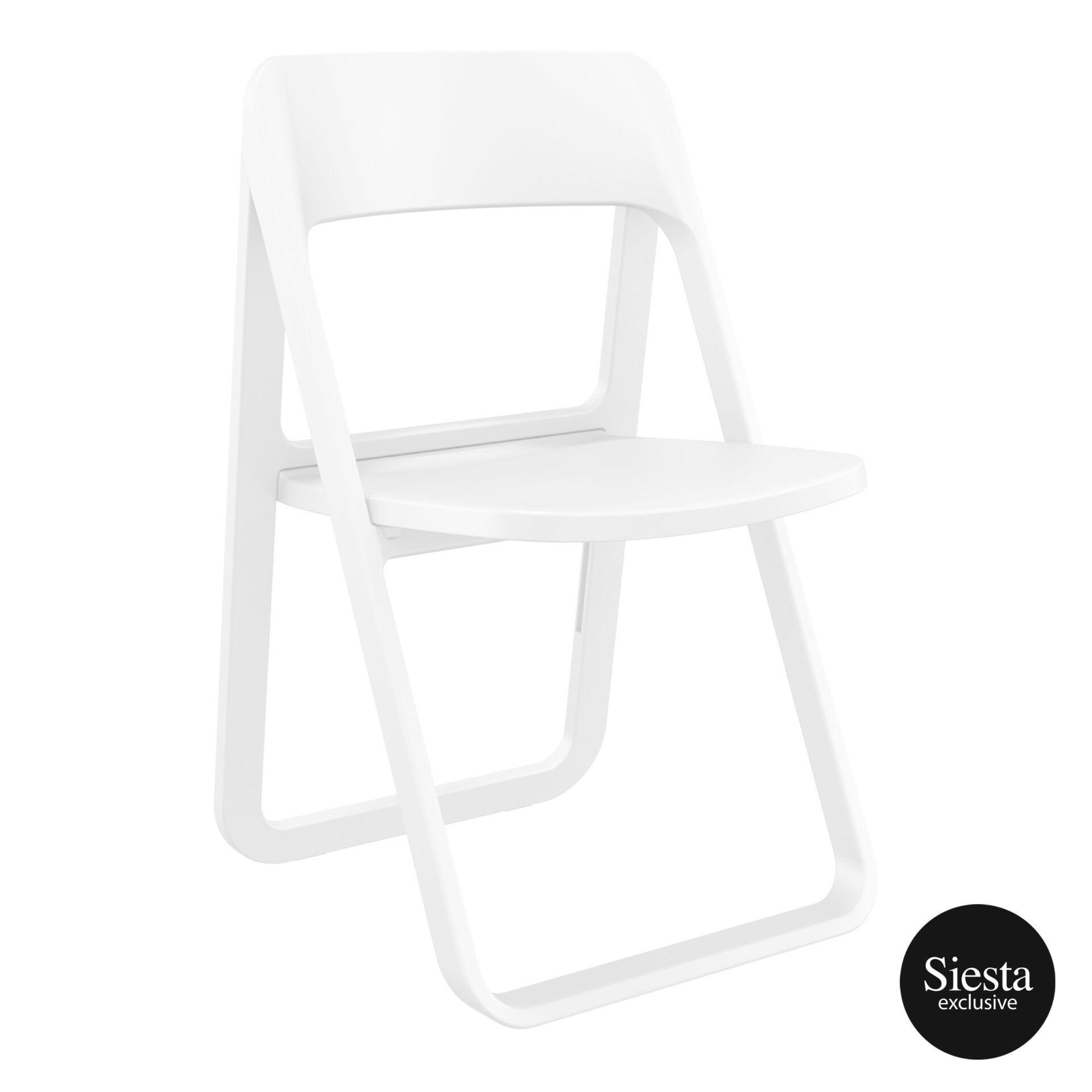 polypropylene dream folding chair white front side 1