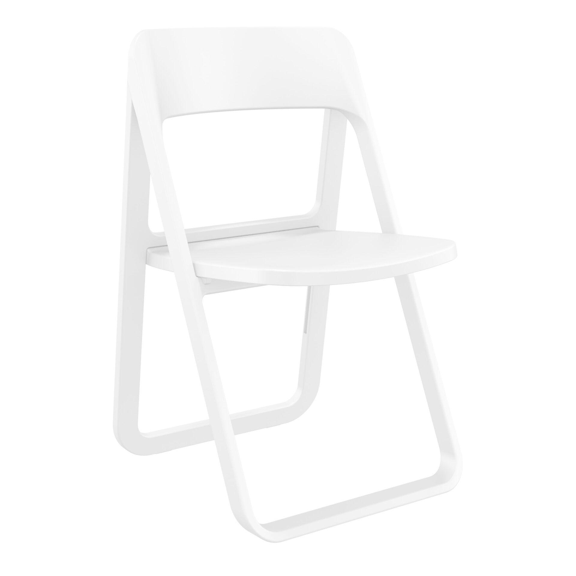 polypropylene dream folding chair white front side