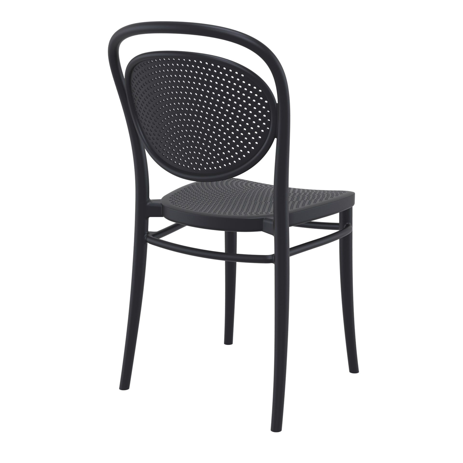 restaurant plastic dining marcel chair black back side