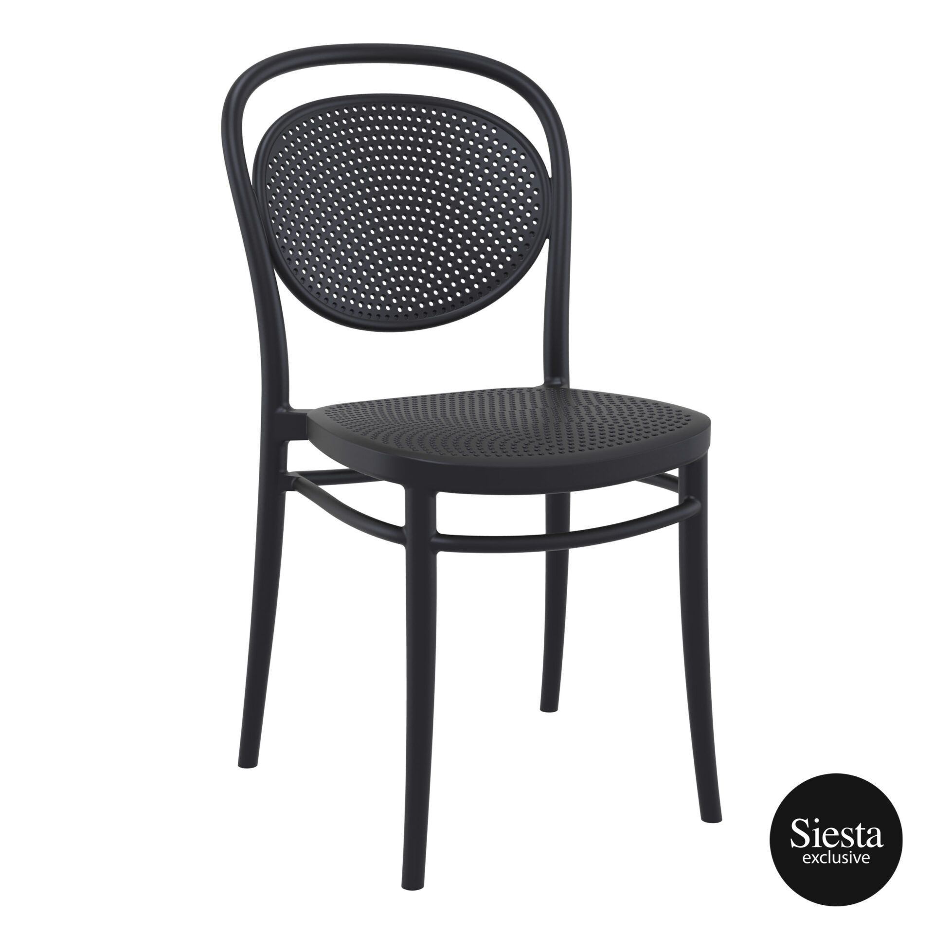 restaurant plastic dining marcel chair black front side 1