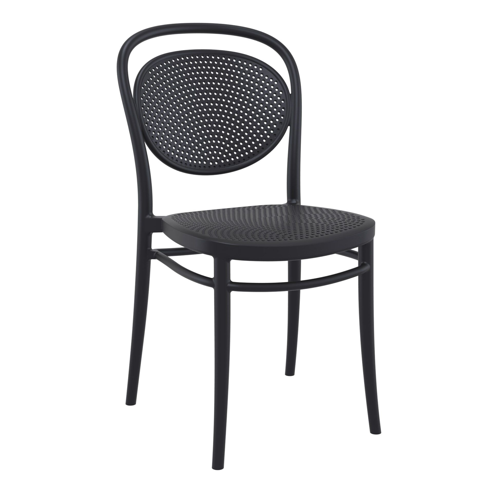 restaurant plastic dining marcel chair black front side