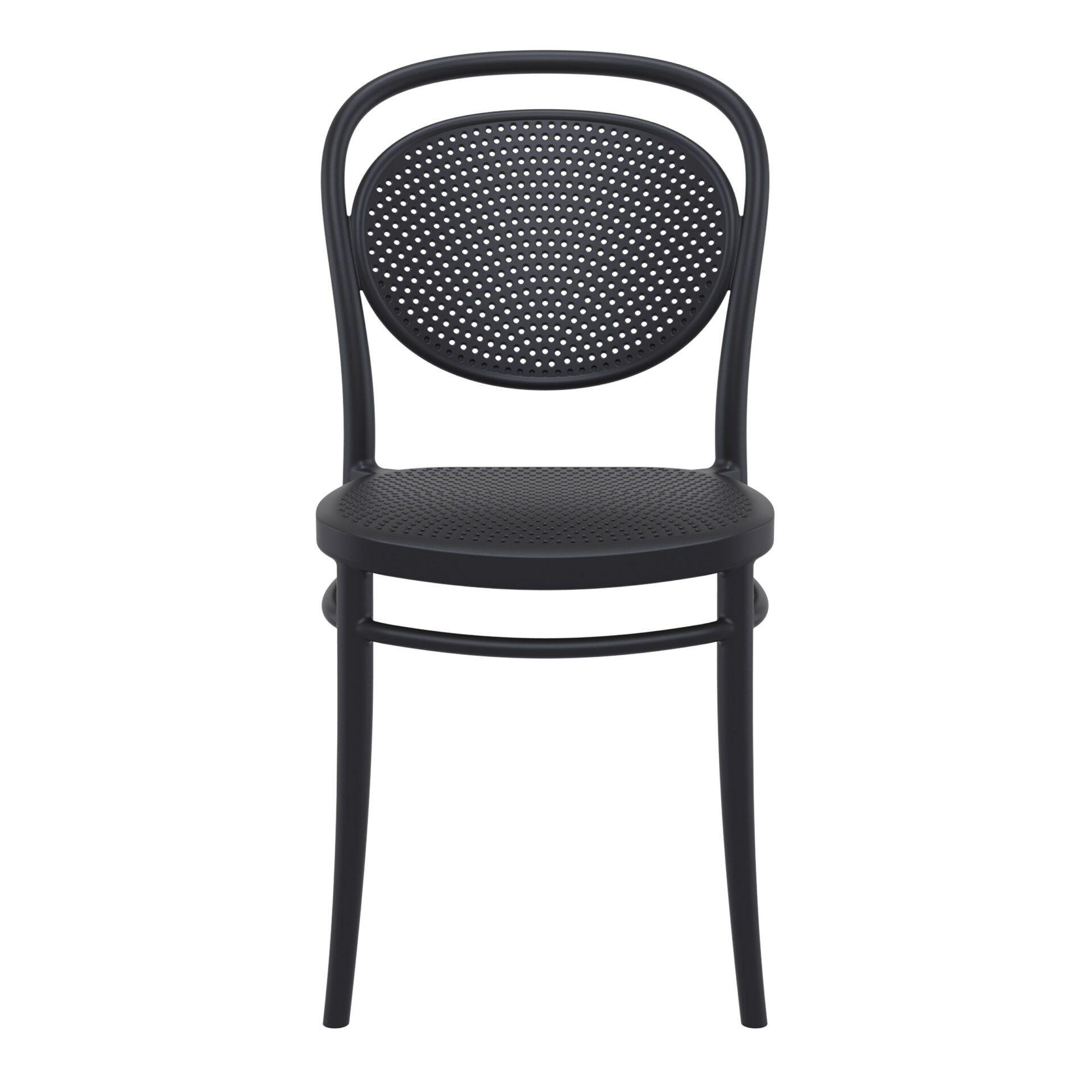 restaurant plastic dining marcel chair black front