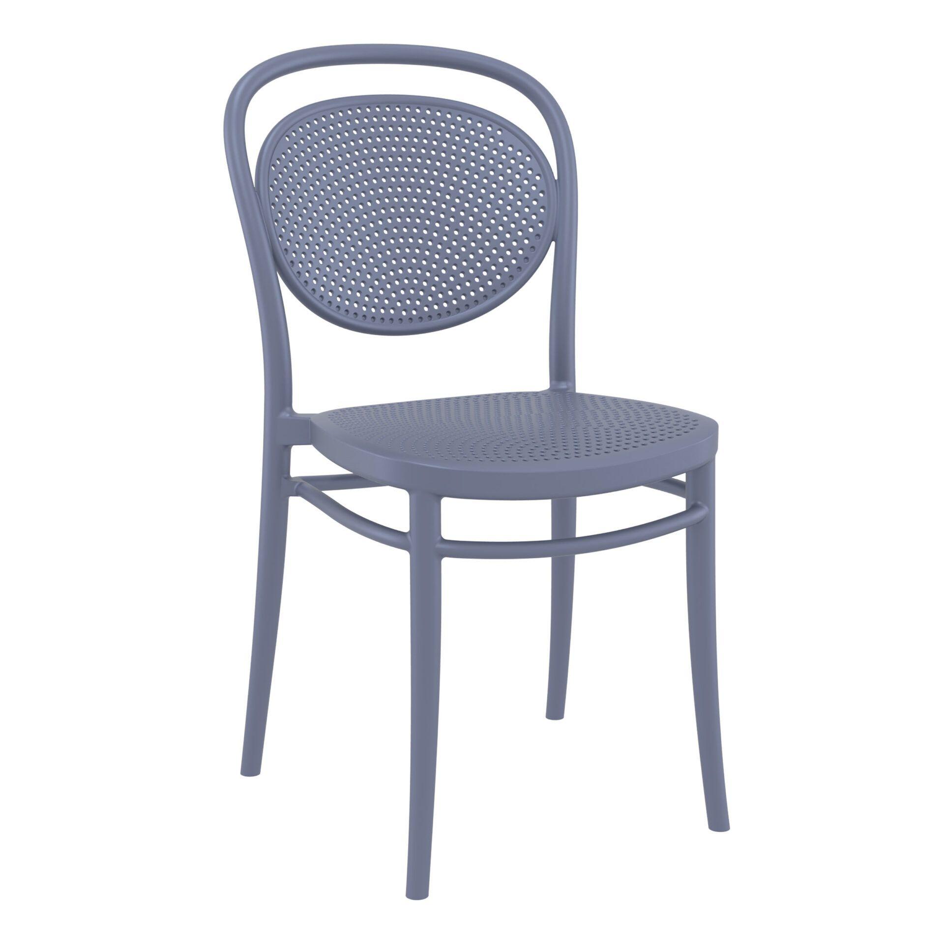 restaurant plastic dining marcel chair darkgrey front side
