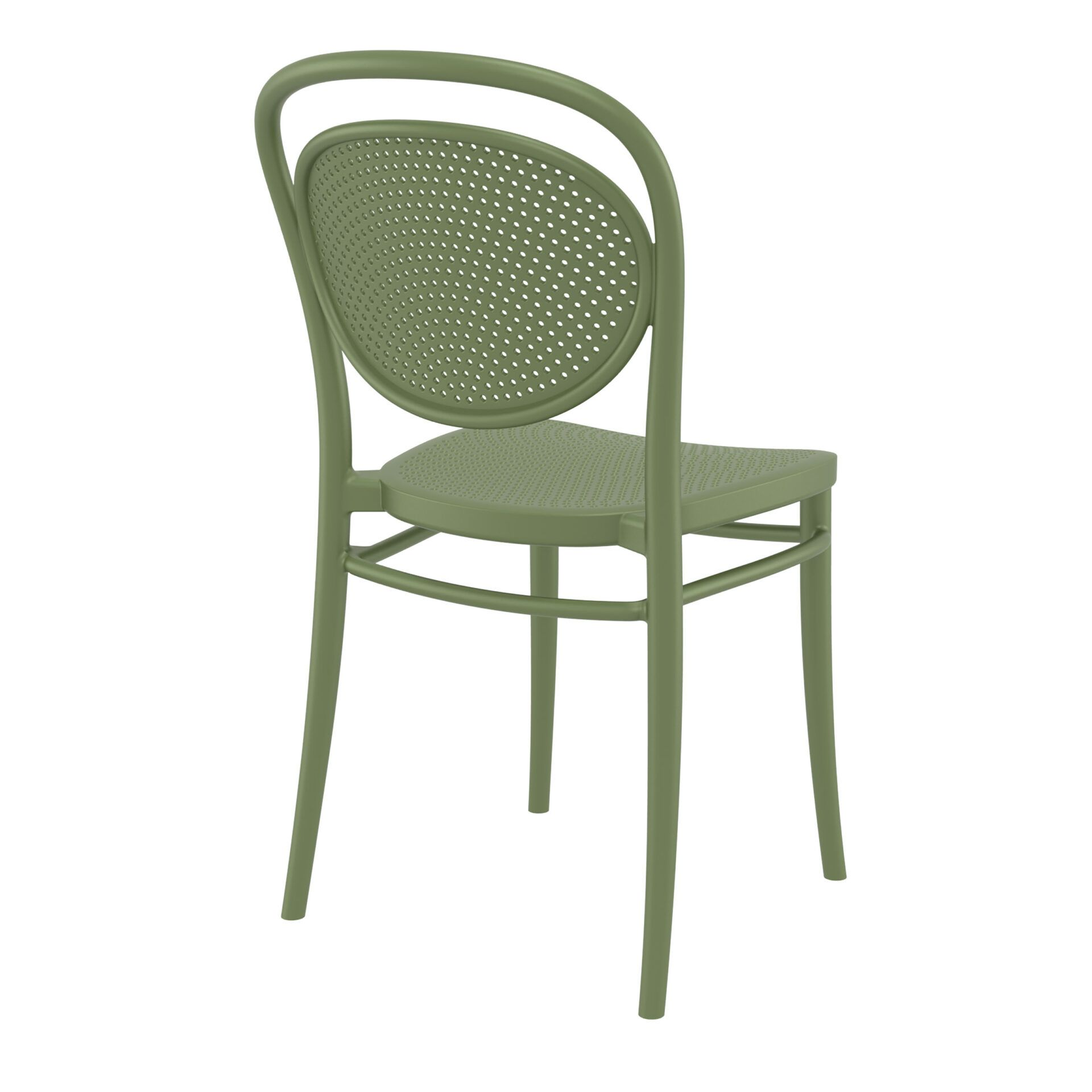 restaurant plastic dining marcel chair olive green back side
