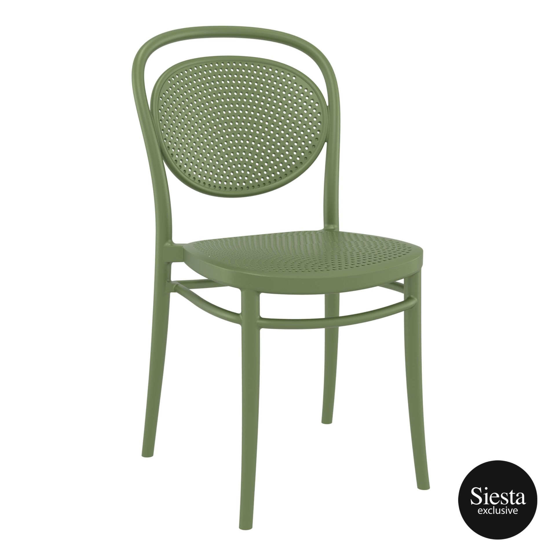 restaurant plastic dining marcel chair olive green front side 1