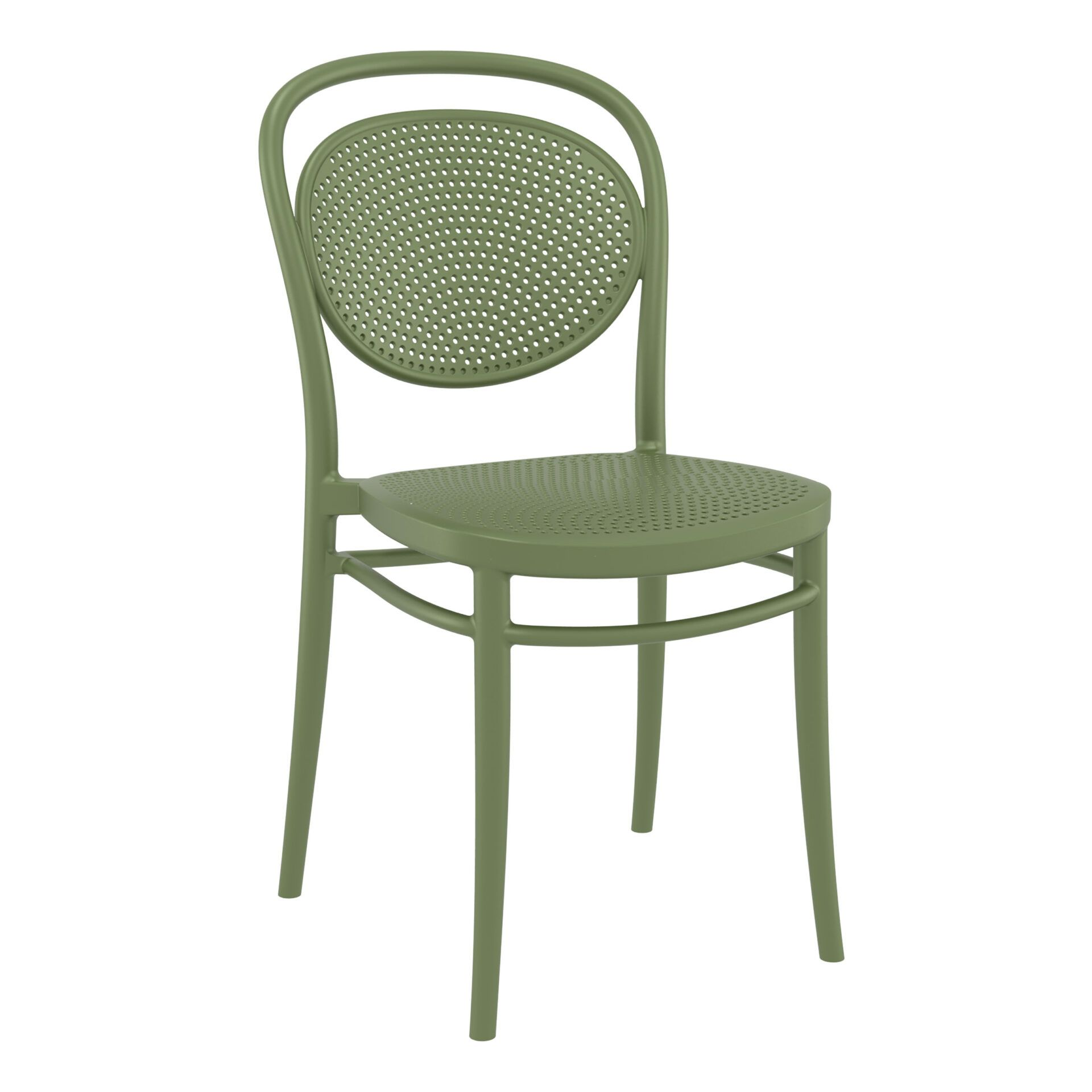 restaurant plastic dining marcel chair olive green front side