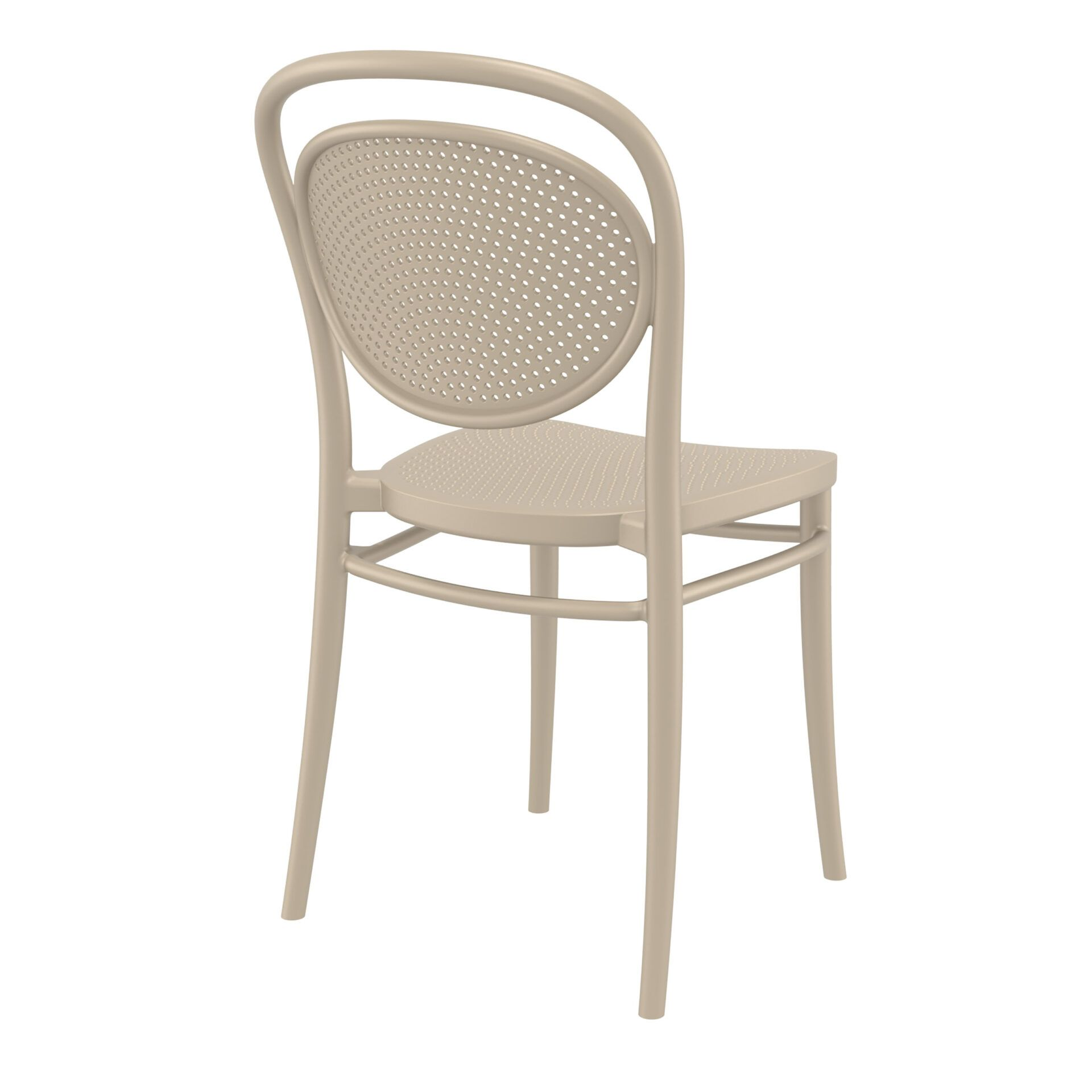 restaurant plastic dining marcel chair taupe back side