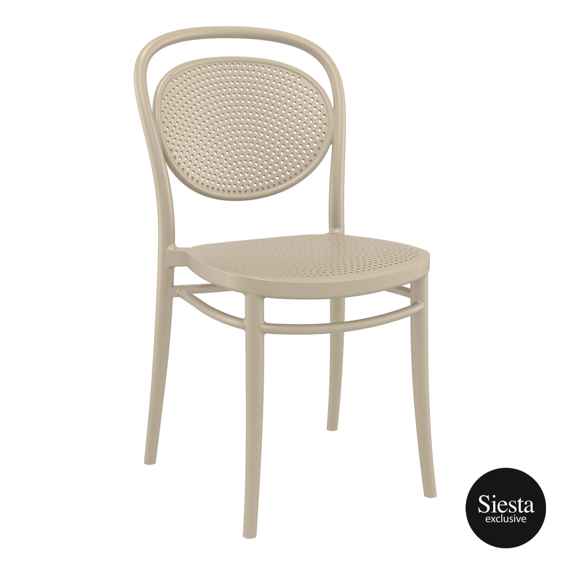 restaurant plastic dining marcel chair taupe front side 1