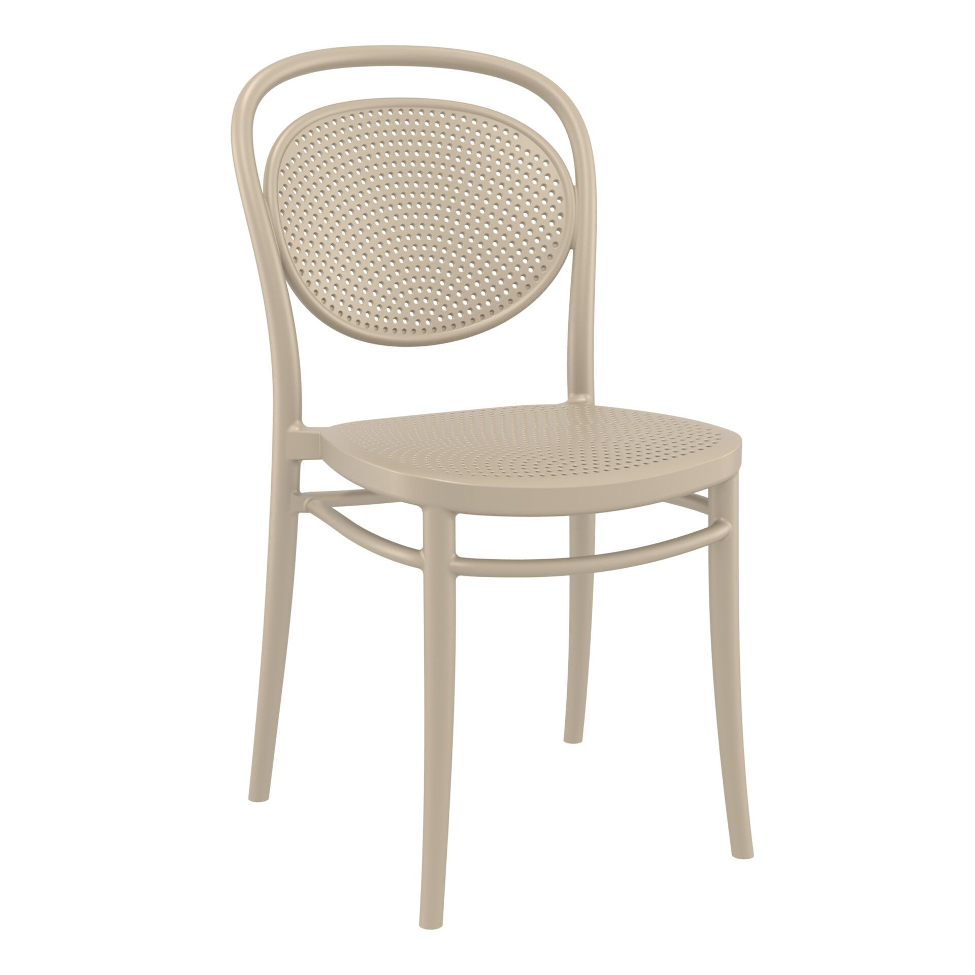 restaurant plastic dining marcel chair taupe front side