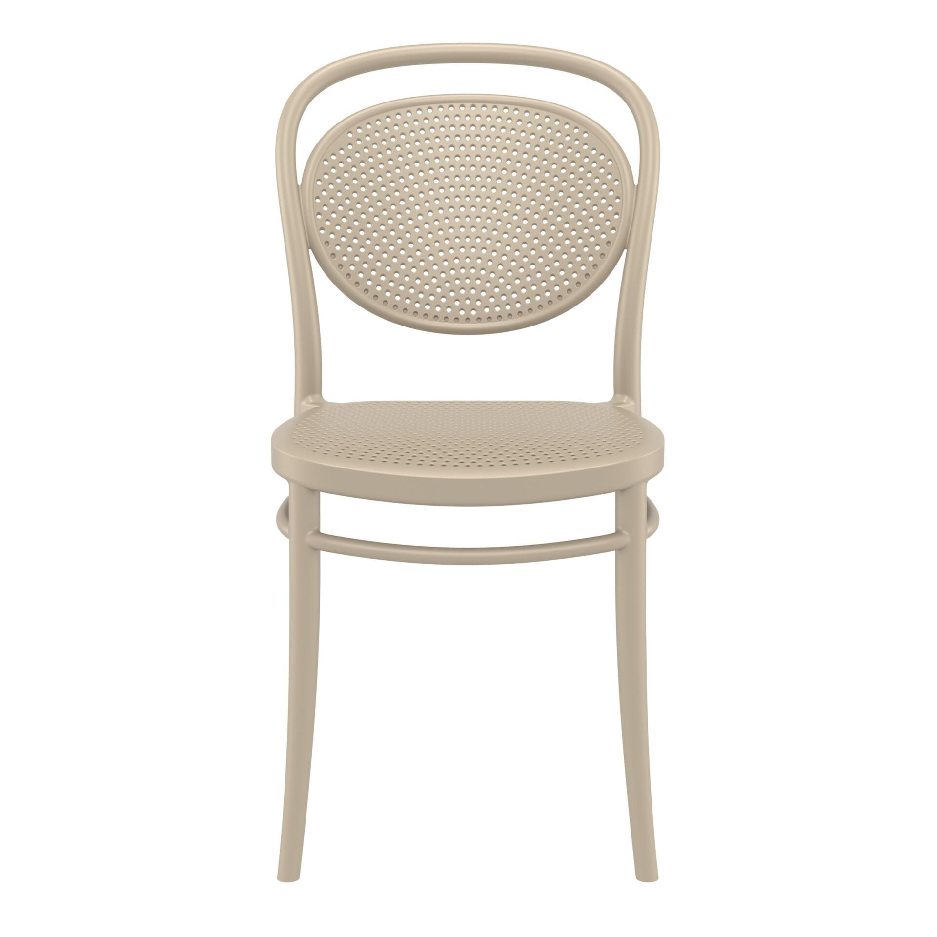 restaurant plastic dining marcel chair taupe front