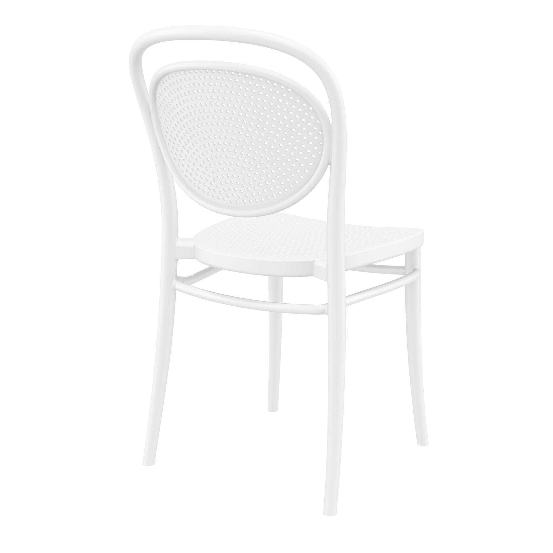 restaurant plastic dining marcel chair white back side