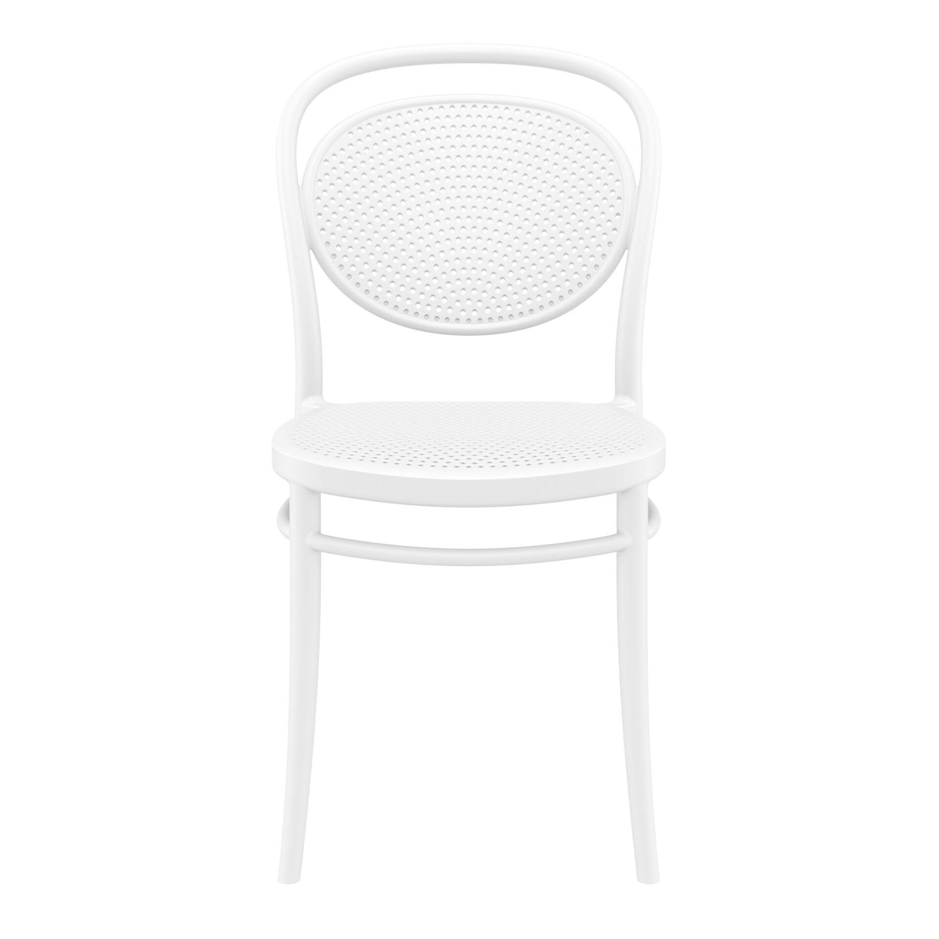 restaurant plastic dining marcel chair white front