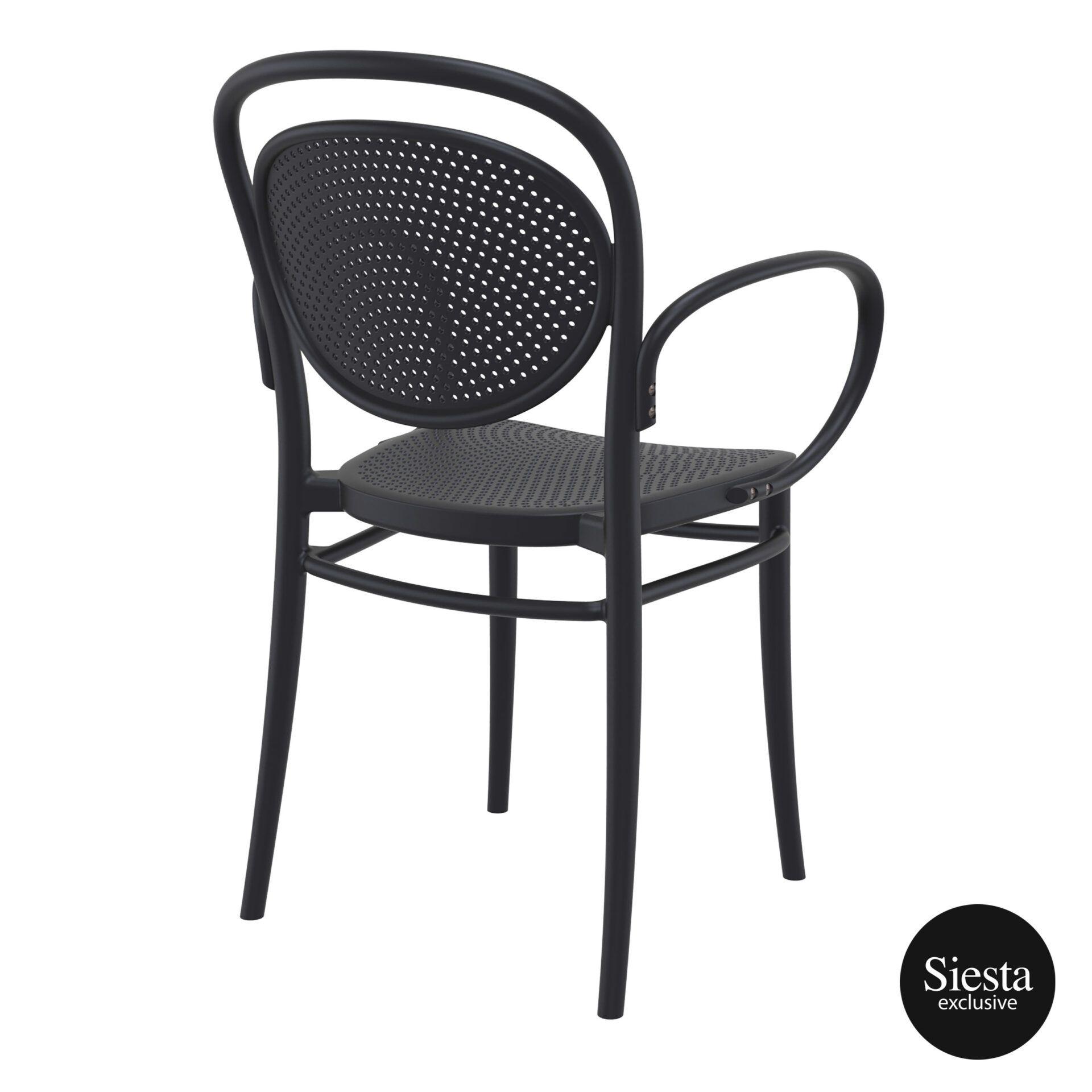 restaurant plastic dining marcel xl armchair black back side 1
