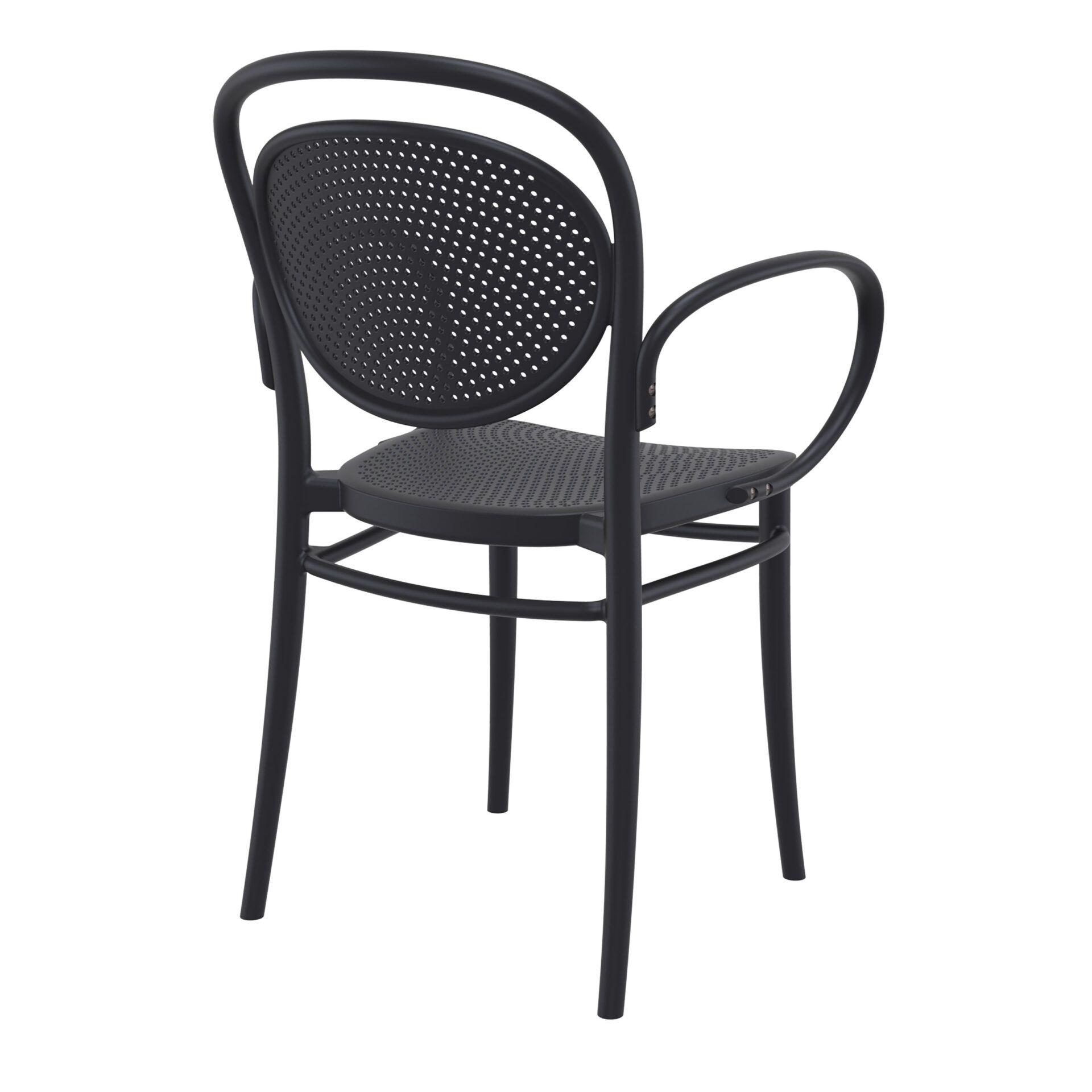 restaurant plastic dining marcel xl armchair black back side