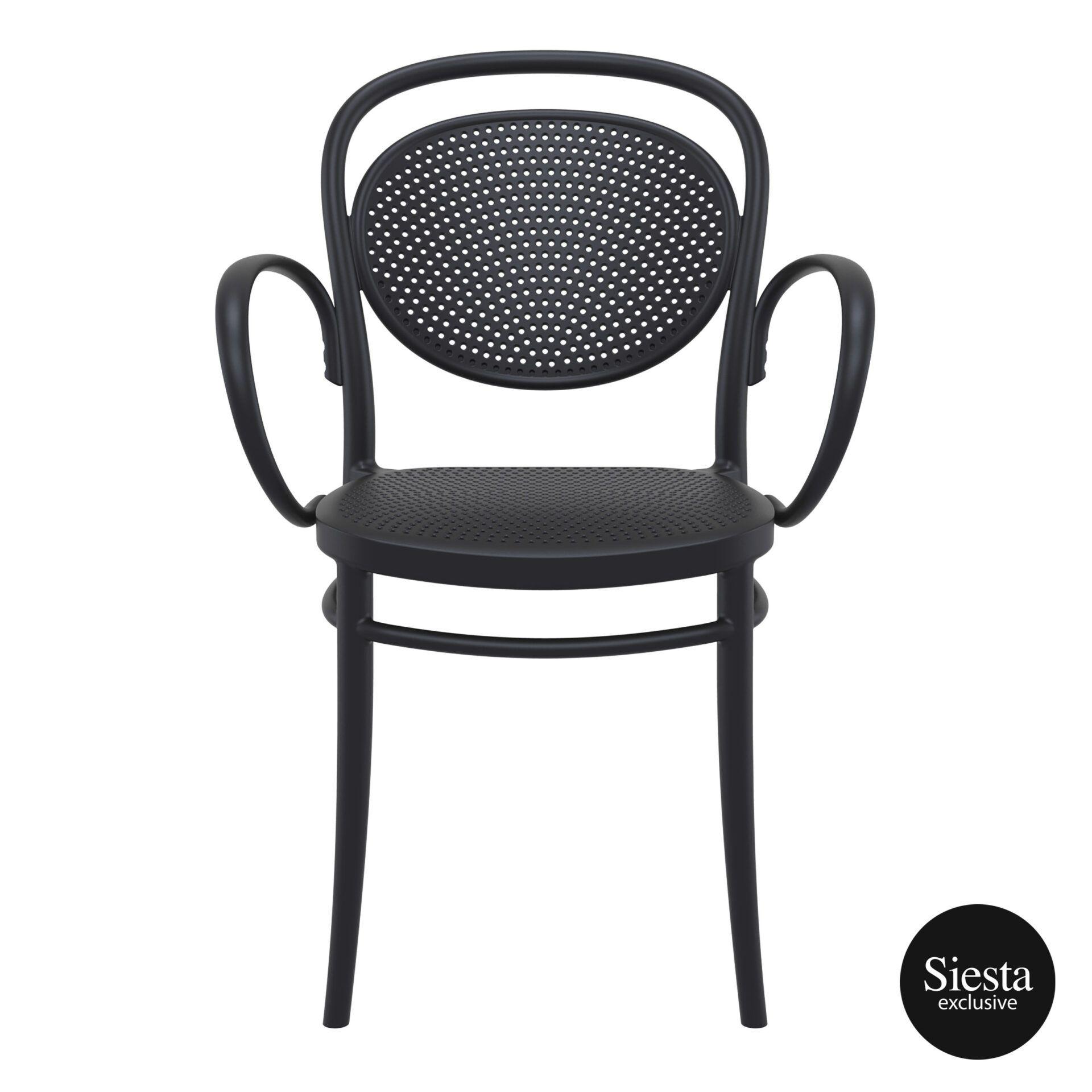 restaurant plastic dining marcel xl armchair black front 1