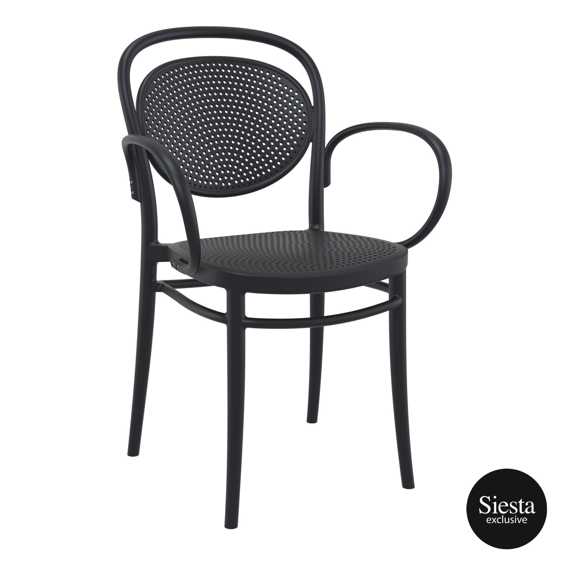 restaurant plastic dining marcel xl armchair black front side 1