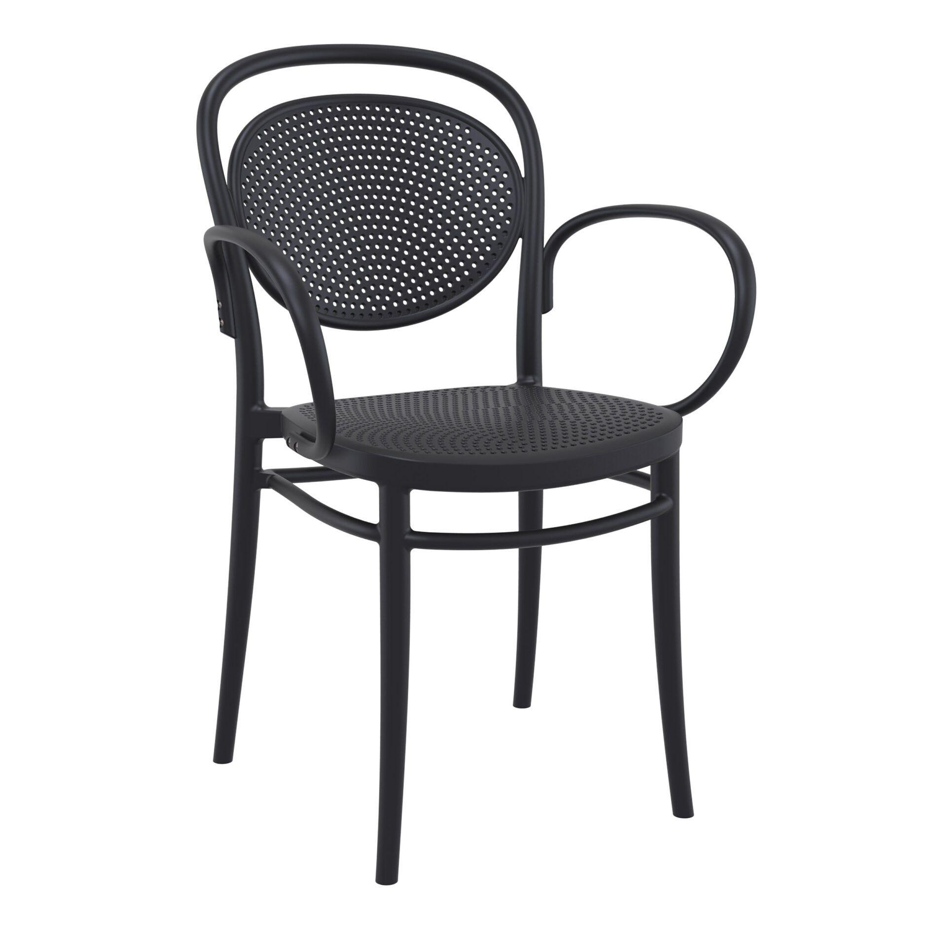 restaurant plastic dining marcel xl armchair black front side