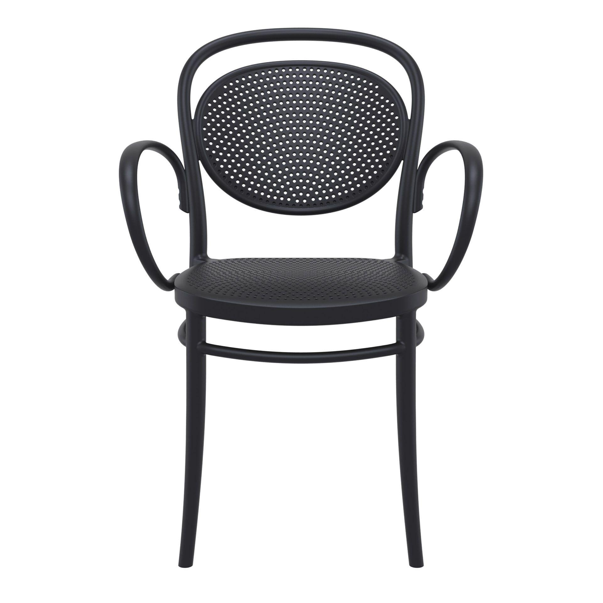 restaurant plastic dining marcel xl armchair black front