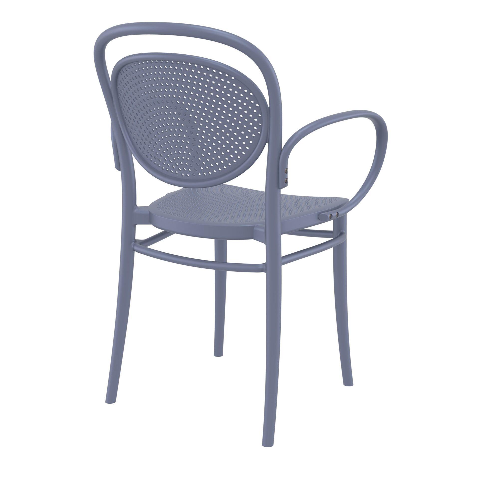 restaurant plastic dining marcel xl armchair darkgrey back side