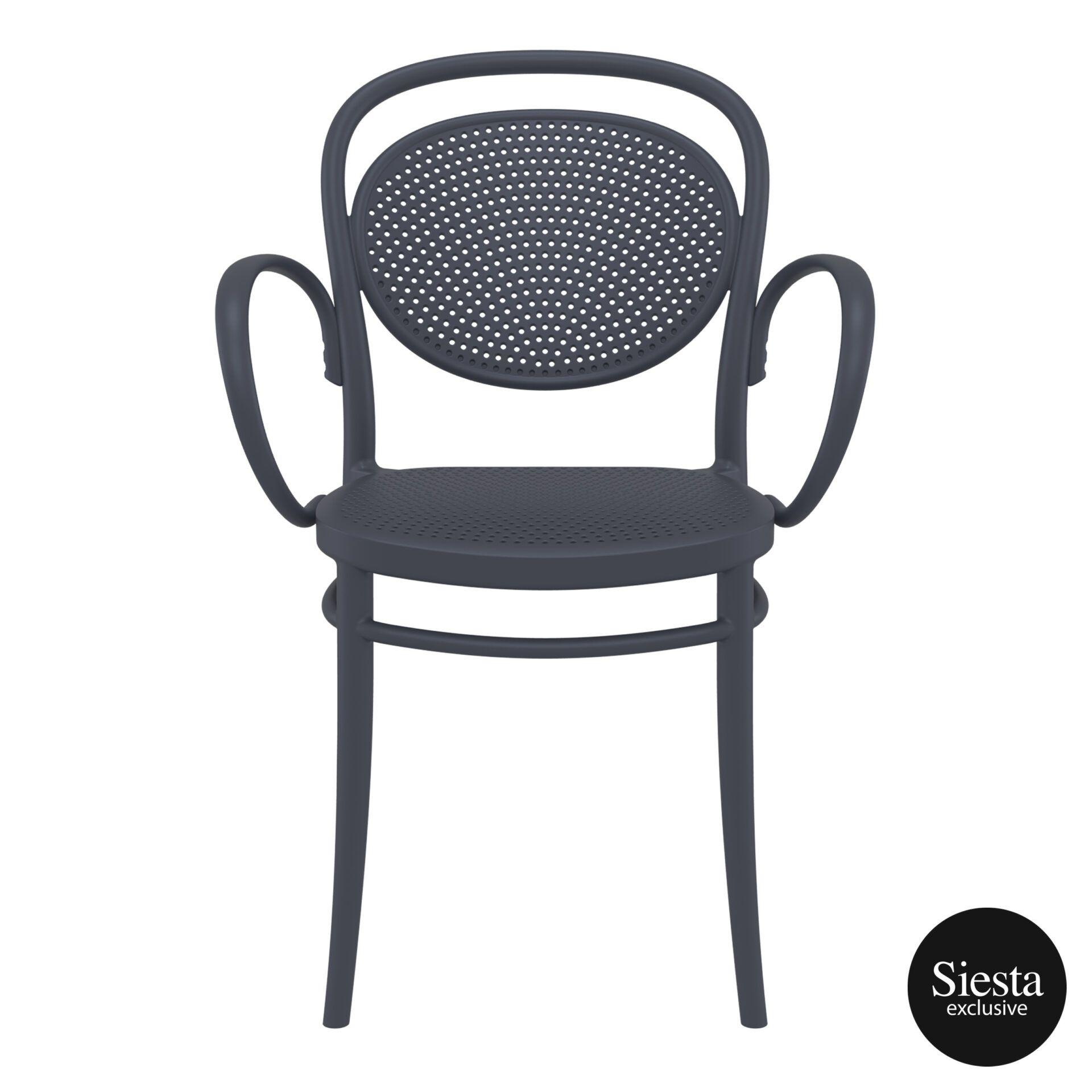 restaurant plastic dining marcel xl armchair darkgrey front 2